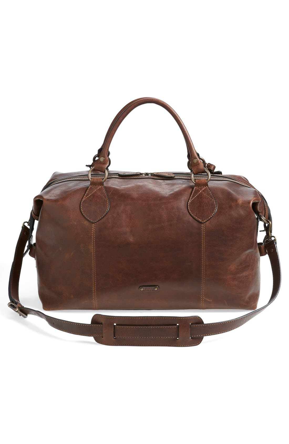 FRYE, 'Logan' Leather Overnight Bag, Alternate thumbnail 4, color, DARK BROWN