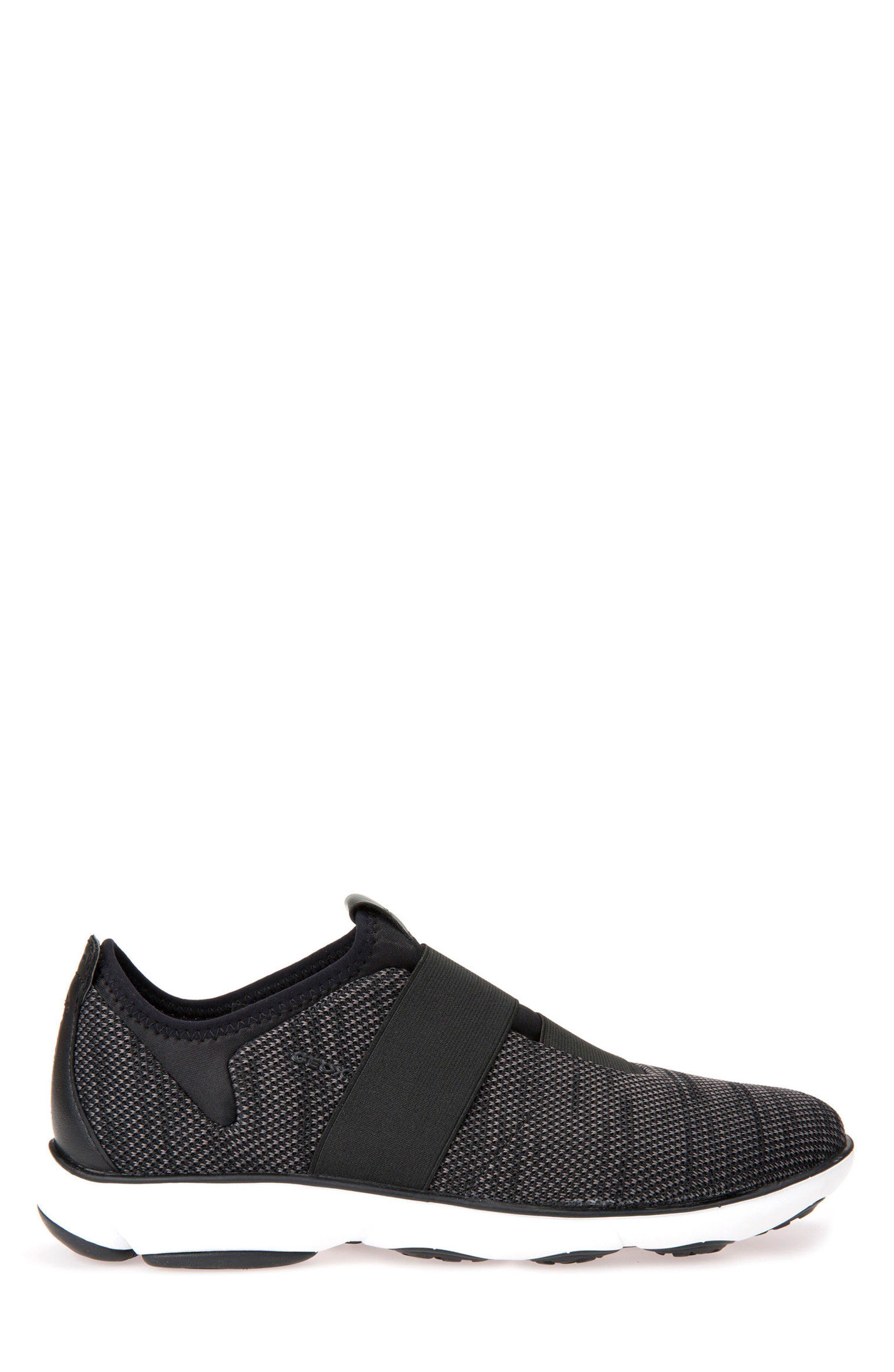 GEOX, Nebula 45 Banded Slip-On Sneaker, Main thumbnail 1, color, BLACK