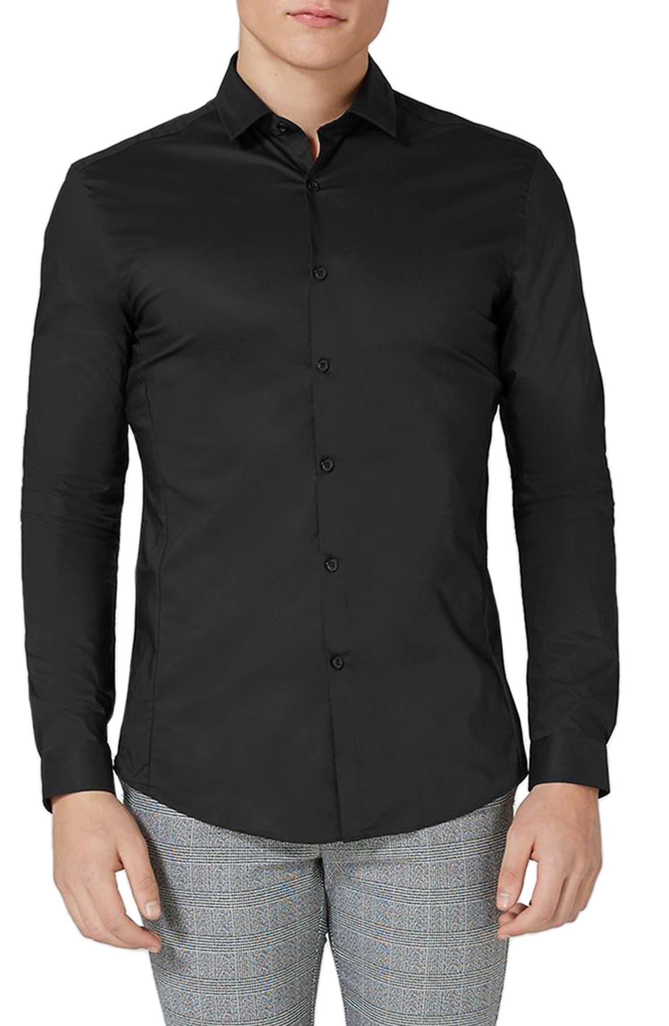 TOPMAN, Muscle Fit Stretch Poplin Shirt, Main thumbnail 1, color, BLACK
