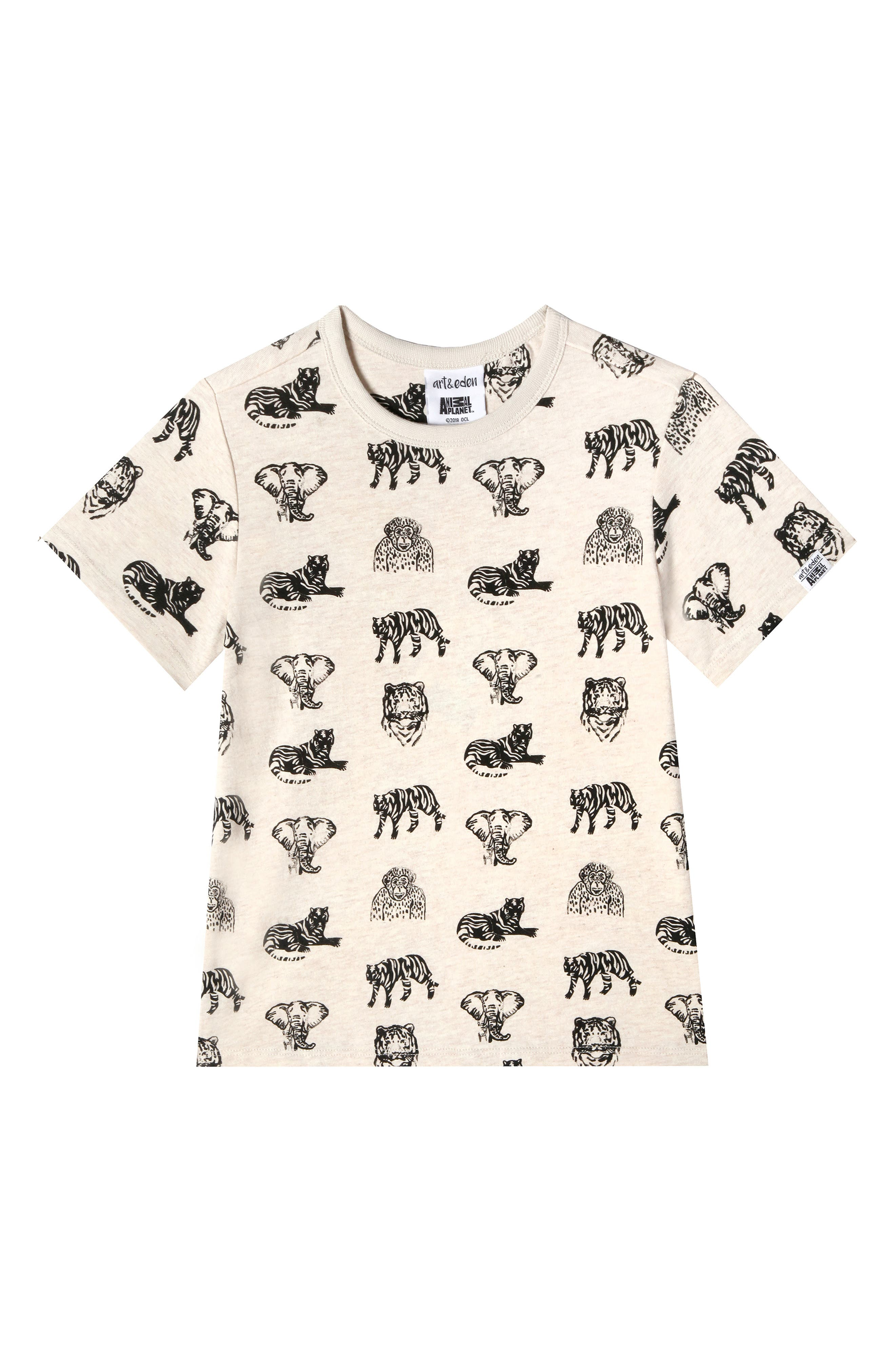 ART & EDEN, x Animal Planet Adam Organic Cotton T-Shirt, Main thumbnail 1, color, JUNGLE PATTERN