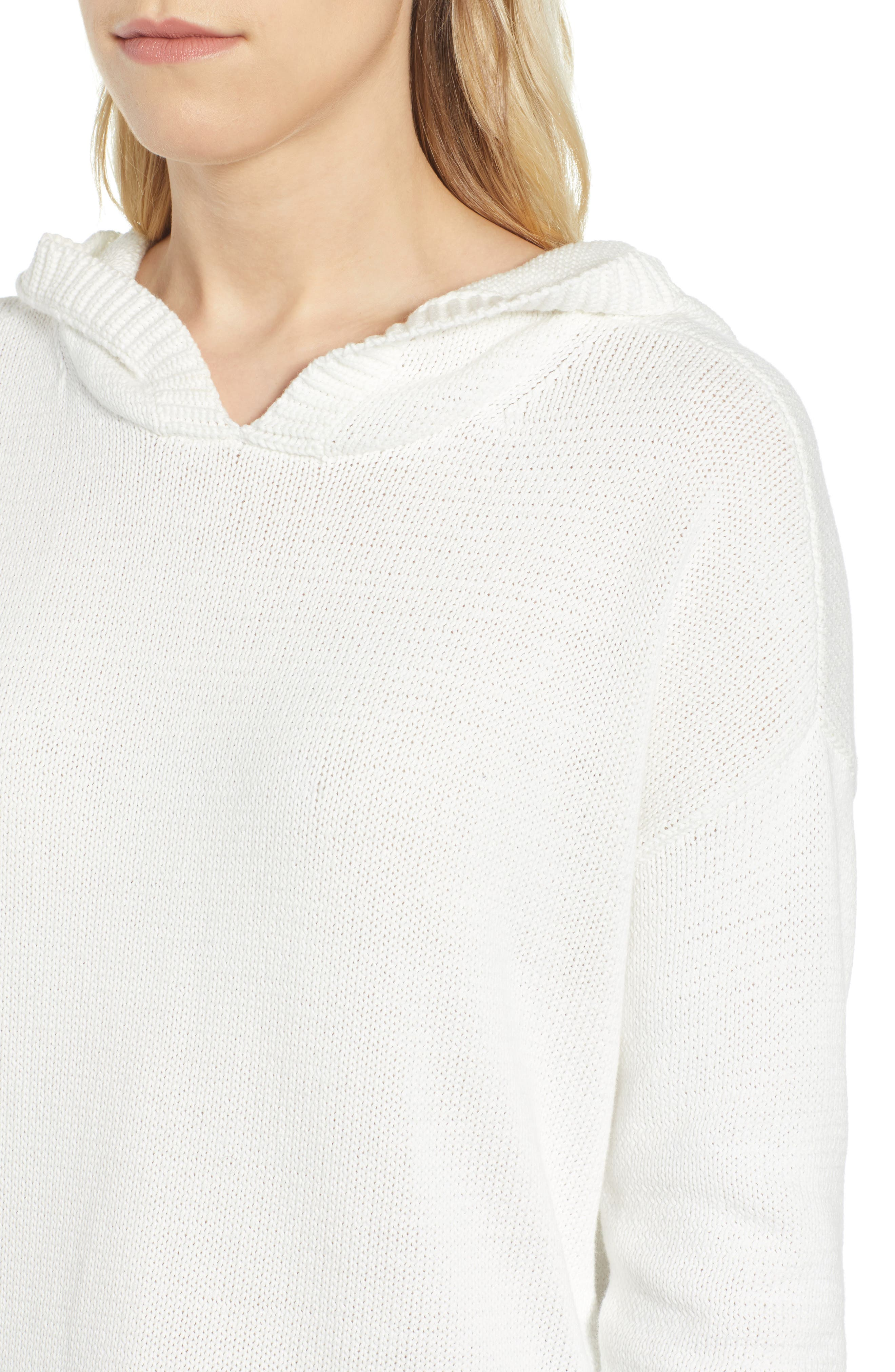 CASLON<SUP>®</SUP>, Off-Duty Hooded Sweater, Alternate thumbnail 4, color, WHITE