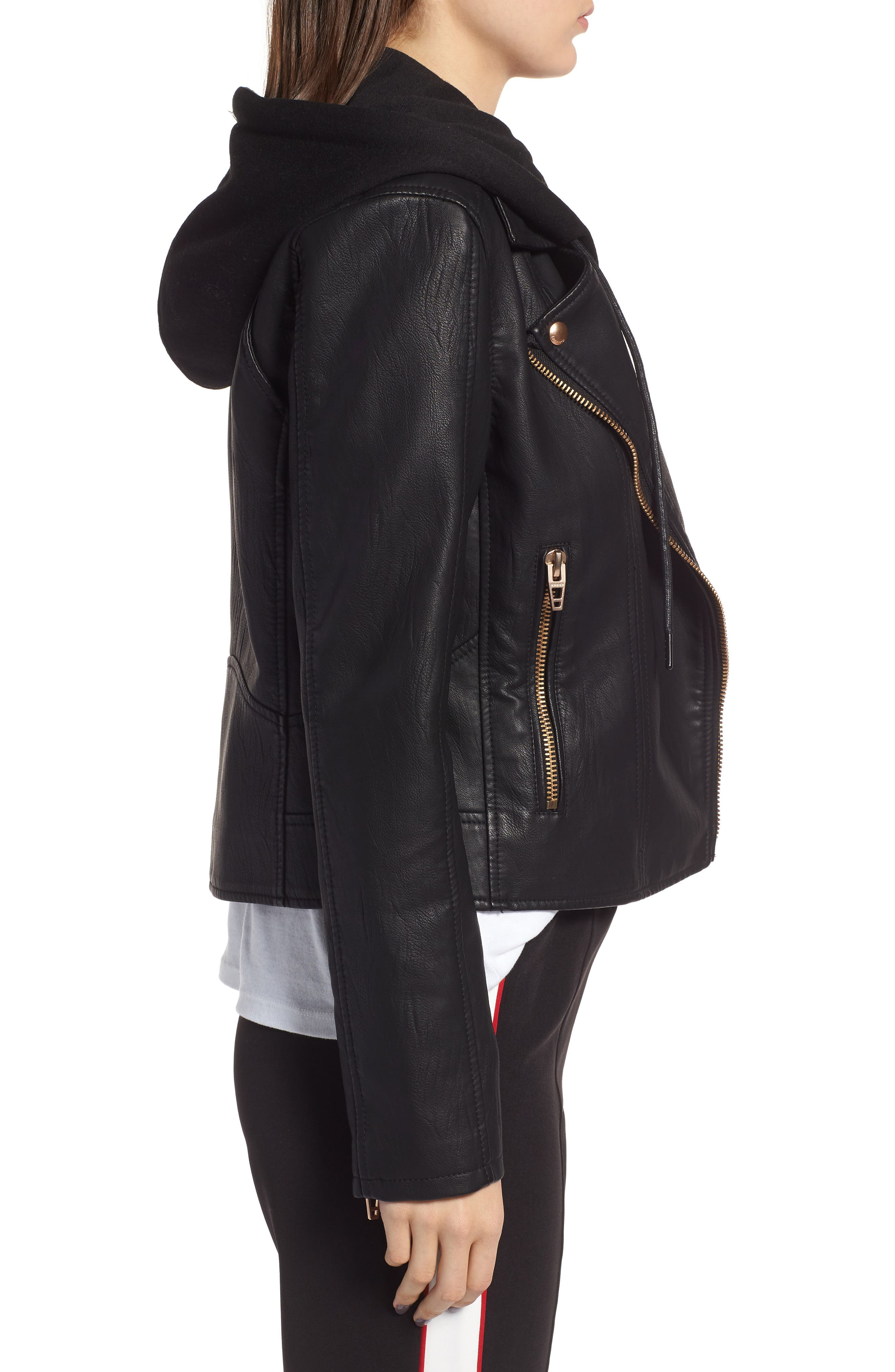 BLANKNYC, Meant to Be Moto Jacket with Removable Hood, Alternate thumbnail 4, color, BLACK