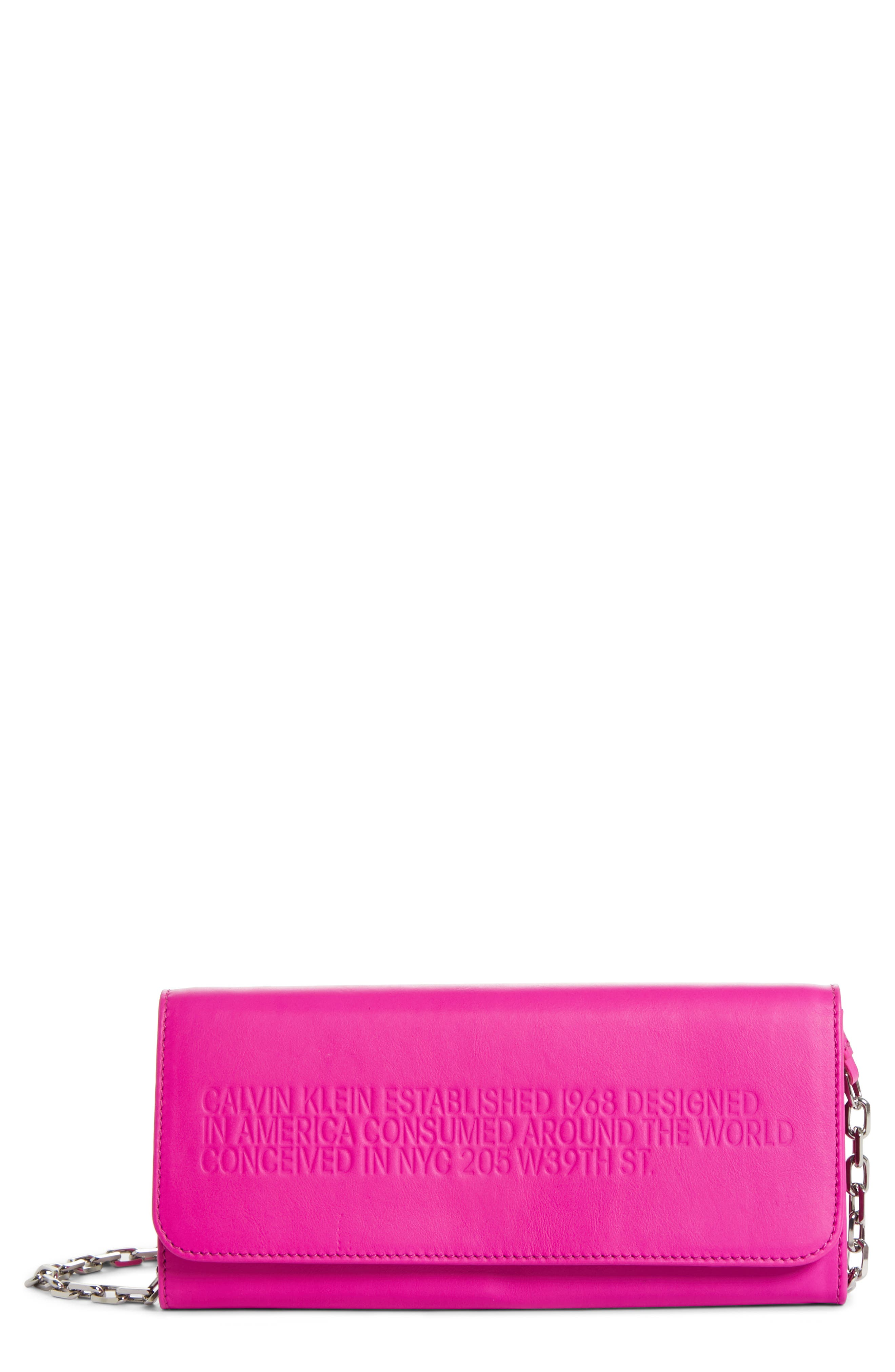 CALVIN KLEIN 205W39NYC Leather Wallet on a Chain, Main, color, SHOCKING