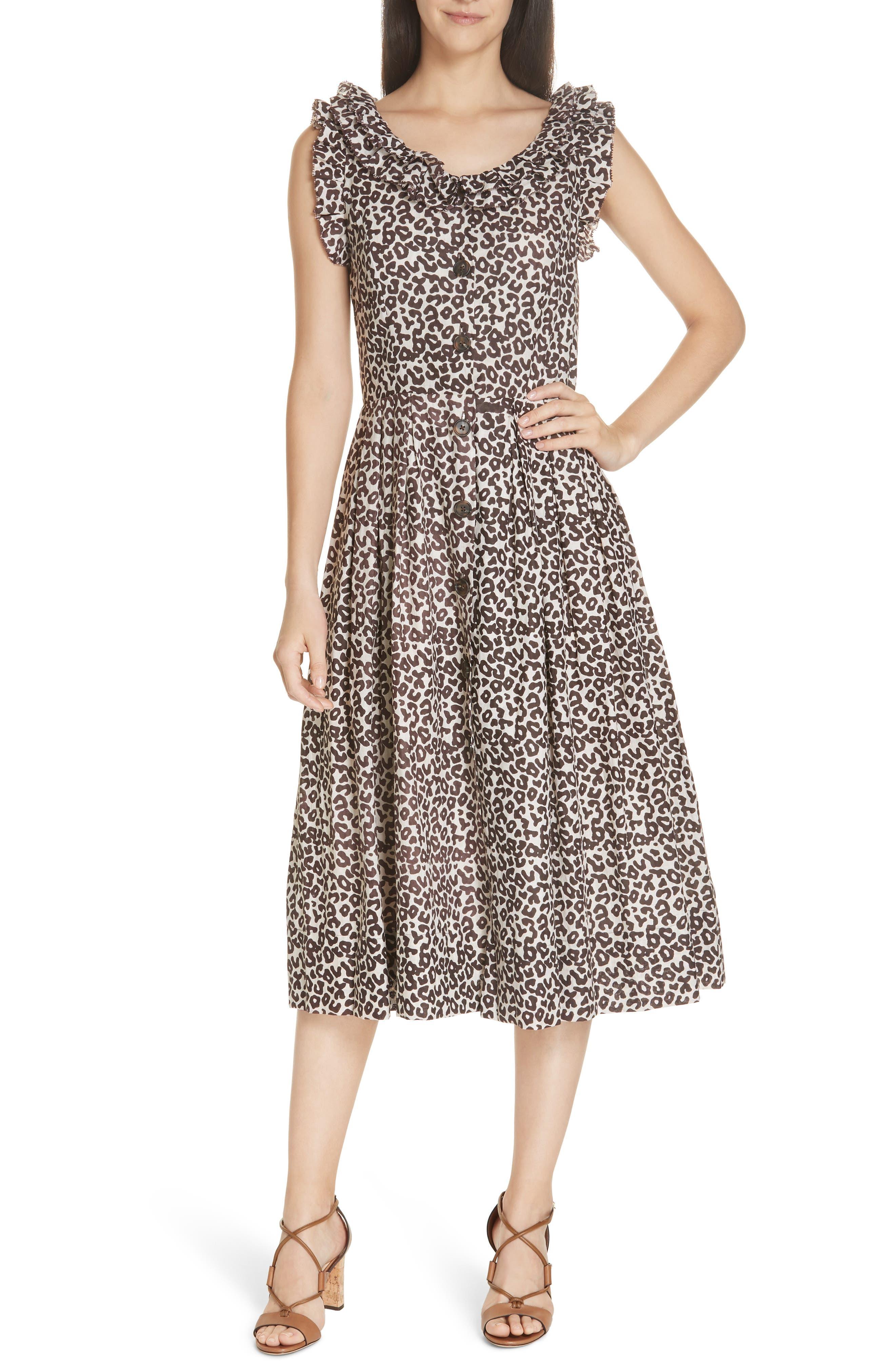 Sea Lottie Leopard Print Dress, Beige