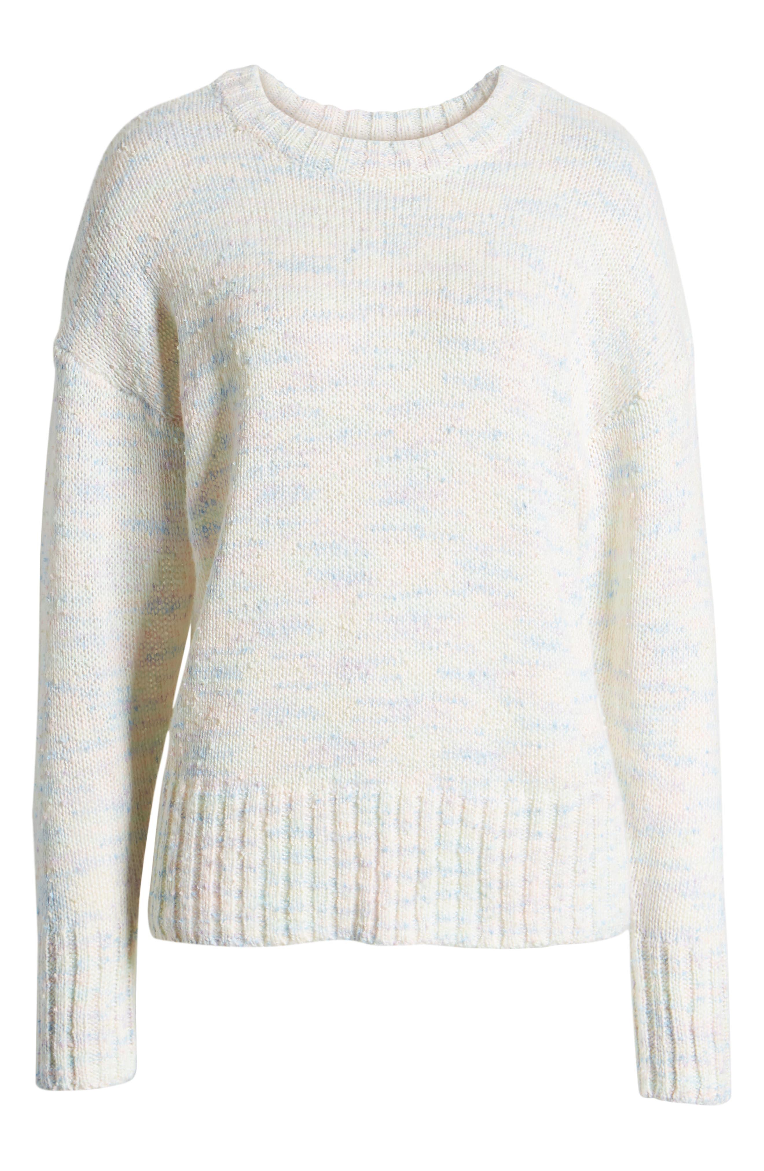 SOMETHING NAVY, Crewneck Sweater, Alternate thumbnail 7, color, IVORY COMBO