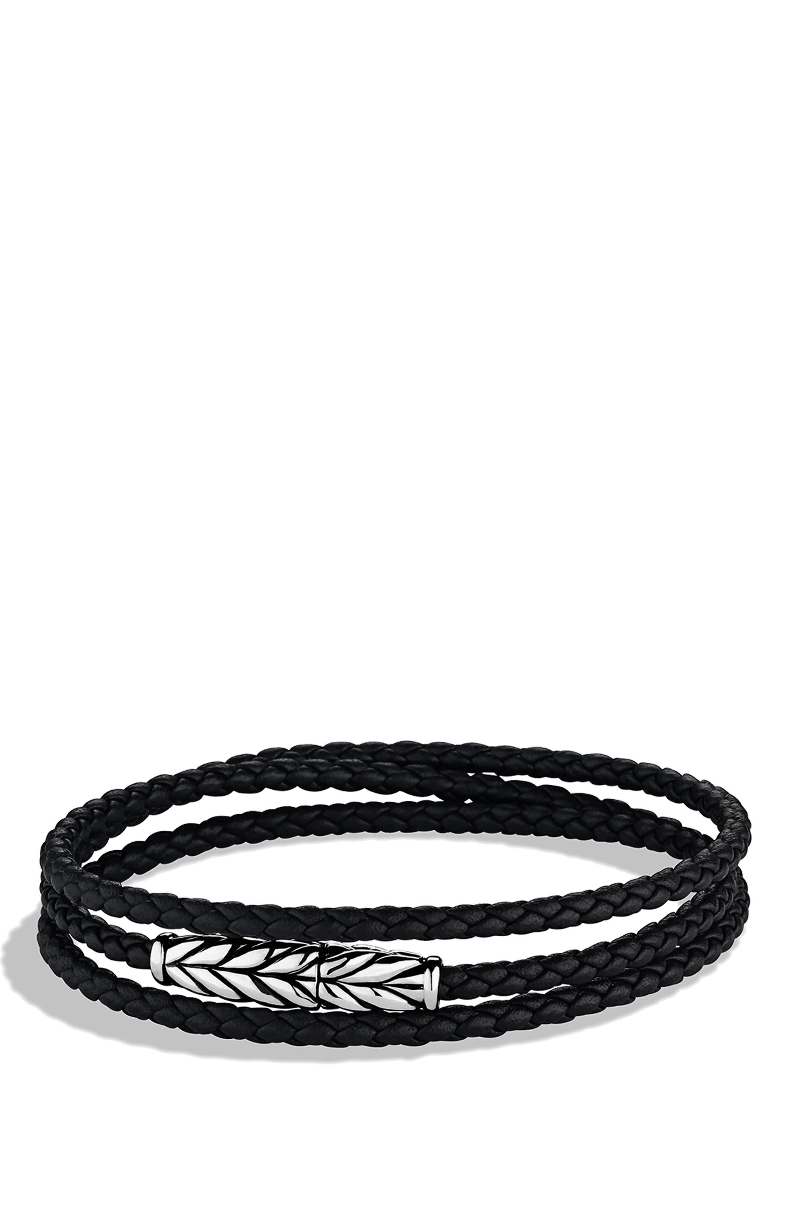 DAVID YURMAN, 'Chevron' Triple-Wrap Bracelet, Main thumbnail 1, color, BLACK LEATHER