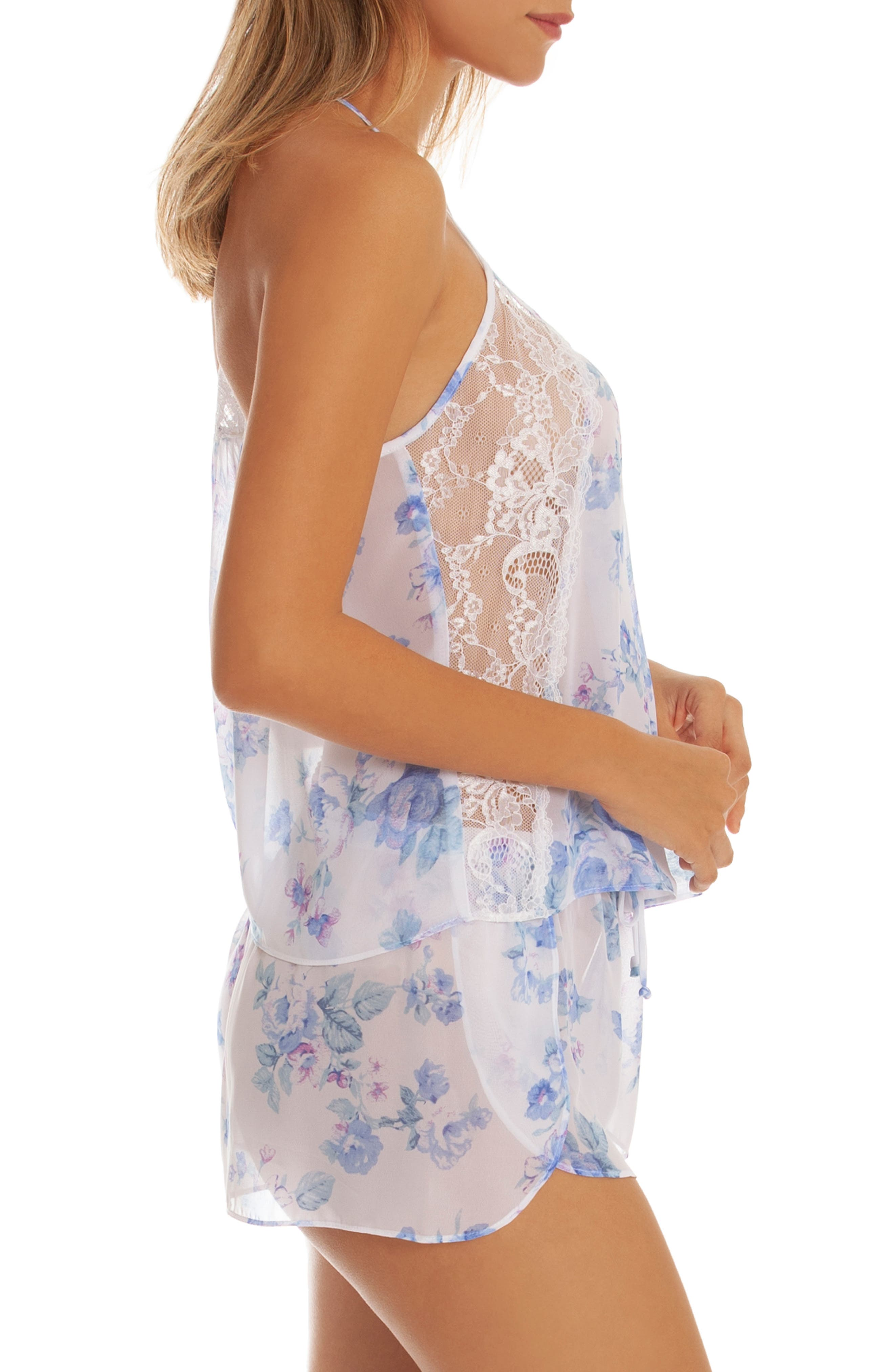 IN BLOOM BY JONQUIL, Chiffon Short Pajamas, Alternate thumbnail 3, color, BLUE/ IVORY