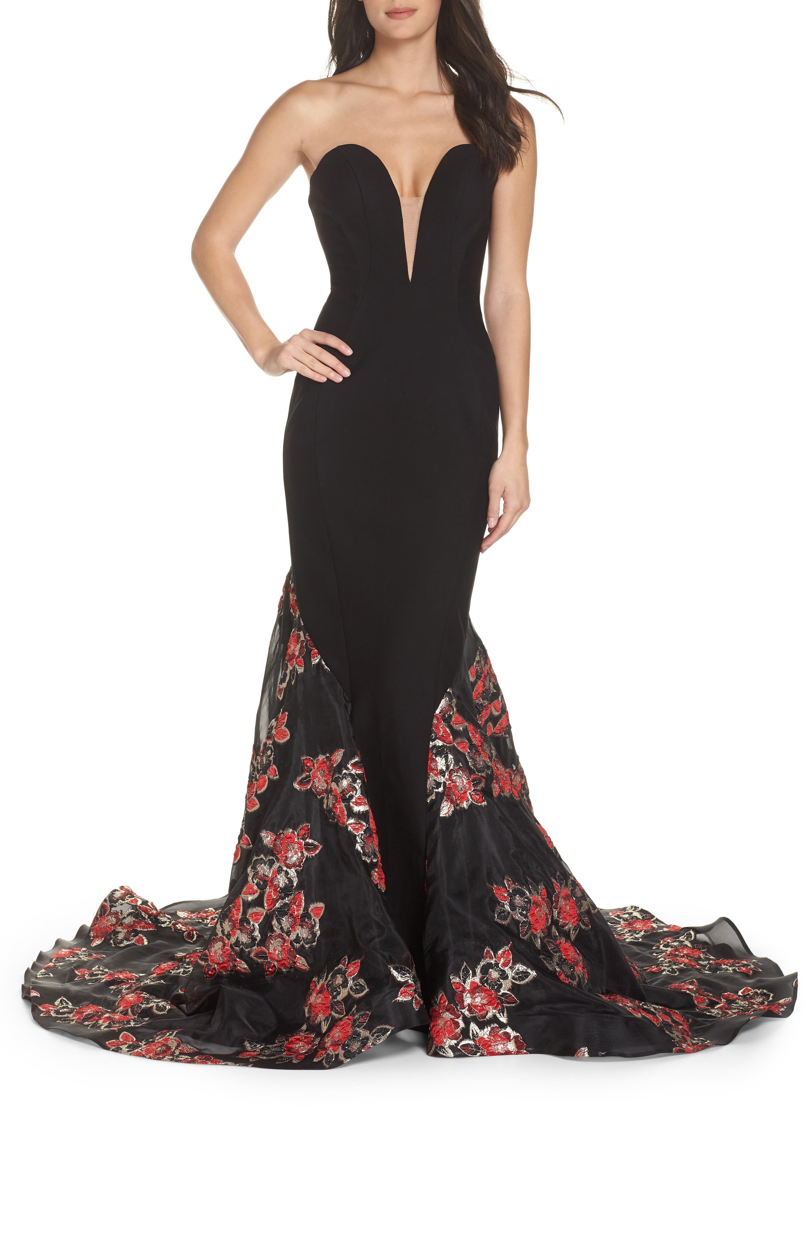MAC DUGGAL, Plunge Floral Jacquard Mermaid Gown, Main thumbnail 1, color, BLACK