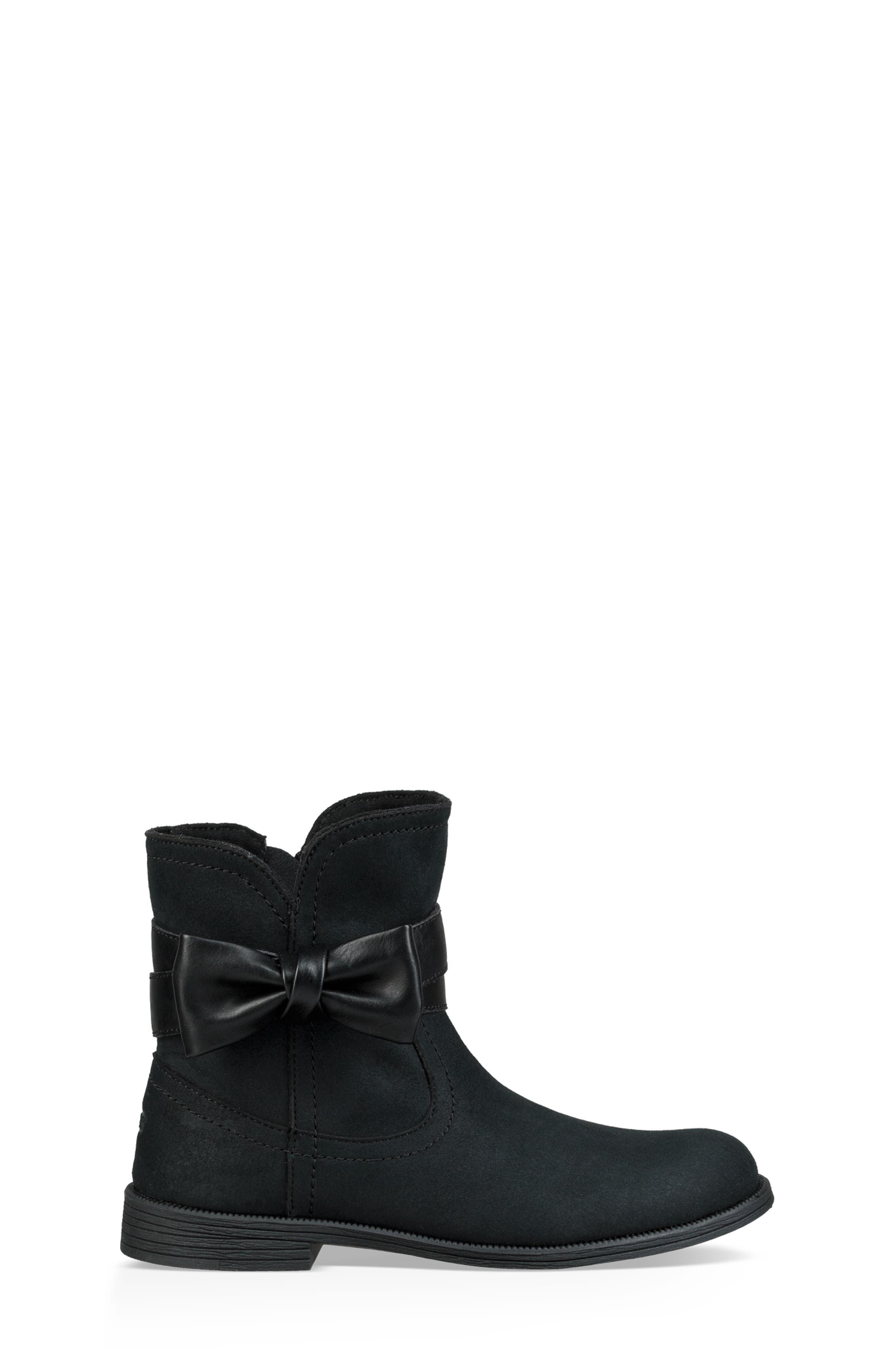 UGG<SUP>®</SUP>, UGG Joanie Bow Boot, Alternate thumbnail 3, color, BLACK