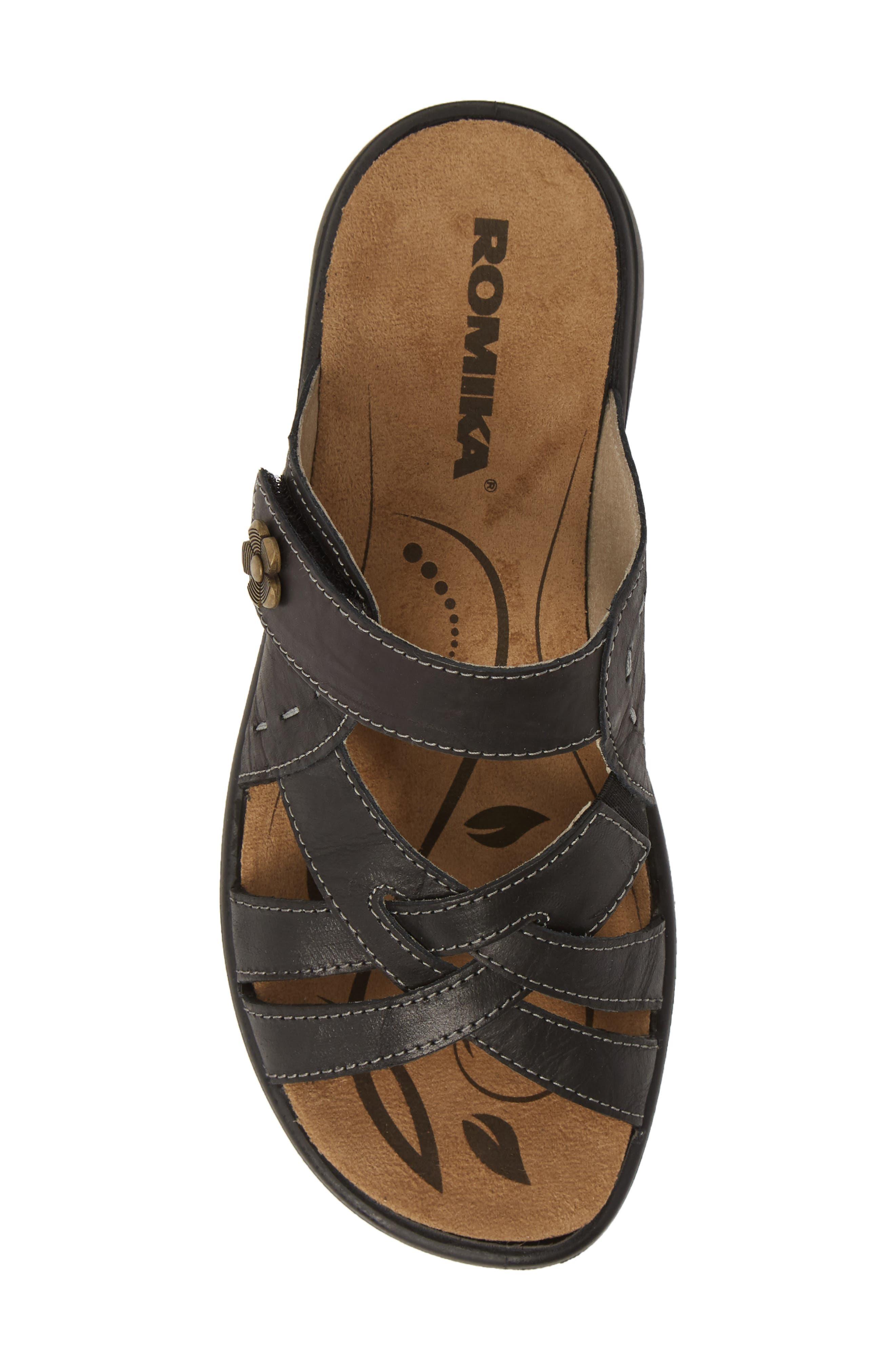 ROMIKA<SUP>®</SUP>, Ibiza 99 Slide Sandal, Alternate thumbnail 5, color, BLACK LEATHER