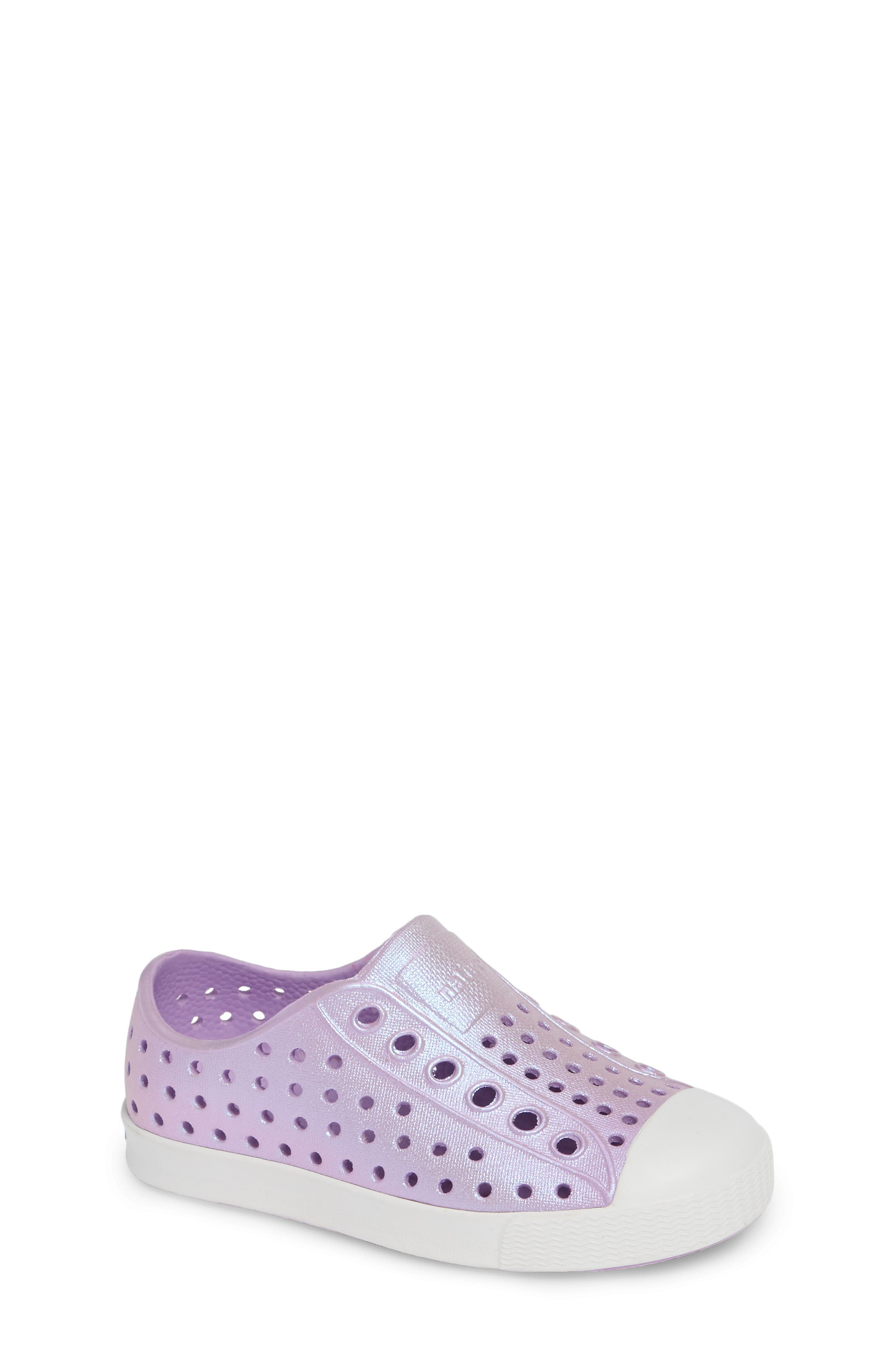 NATIVE SHOES, Jefferson Iridescent Slip-On Vegan Sneaker, Main thumbnail 1, color, LAVENDER/ SHELL WHITE/ GALAXY
