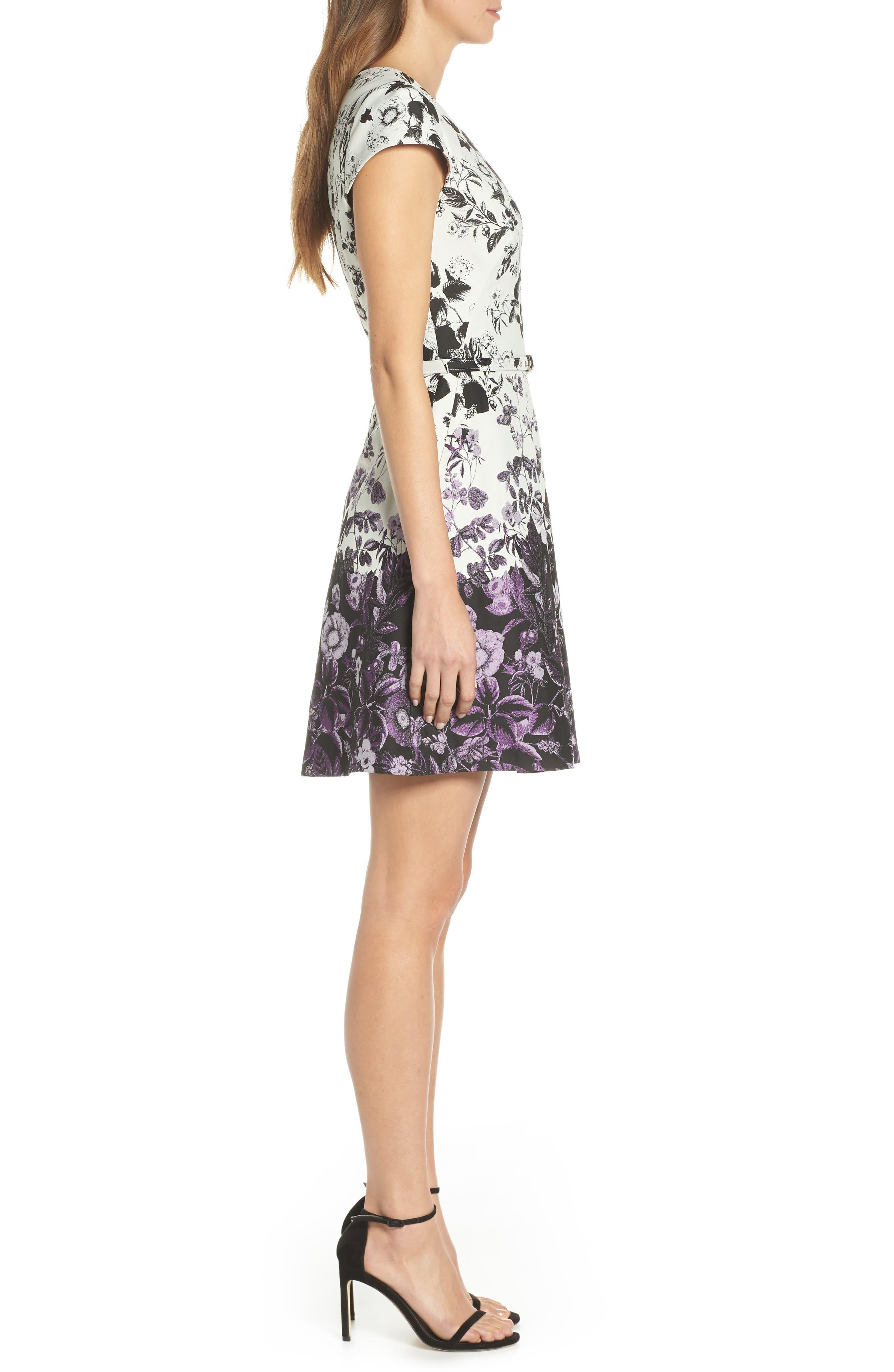 VINCE CAMUTO, Floral Jacquard Fit and Flare Dress, Alternate thumbnail 4, color, PURPLE MULTI