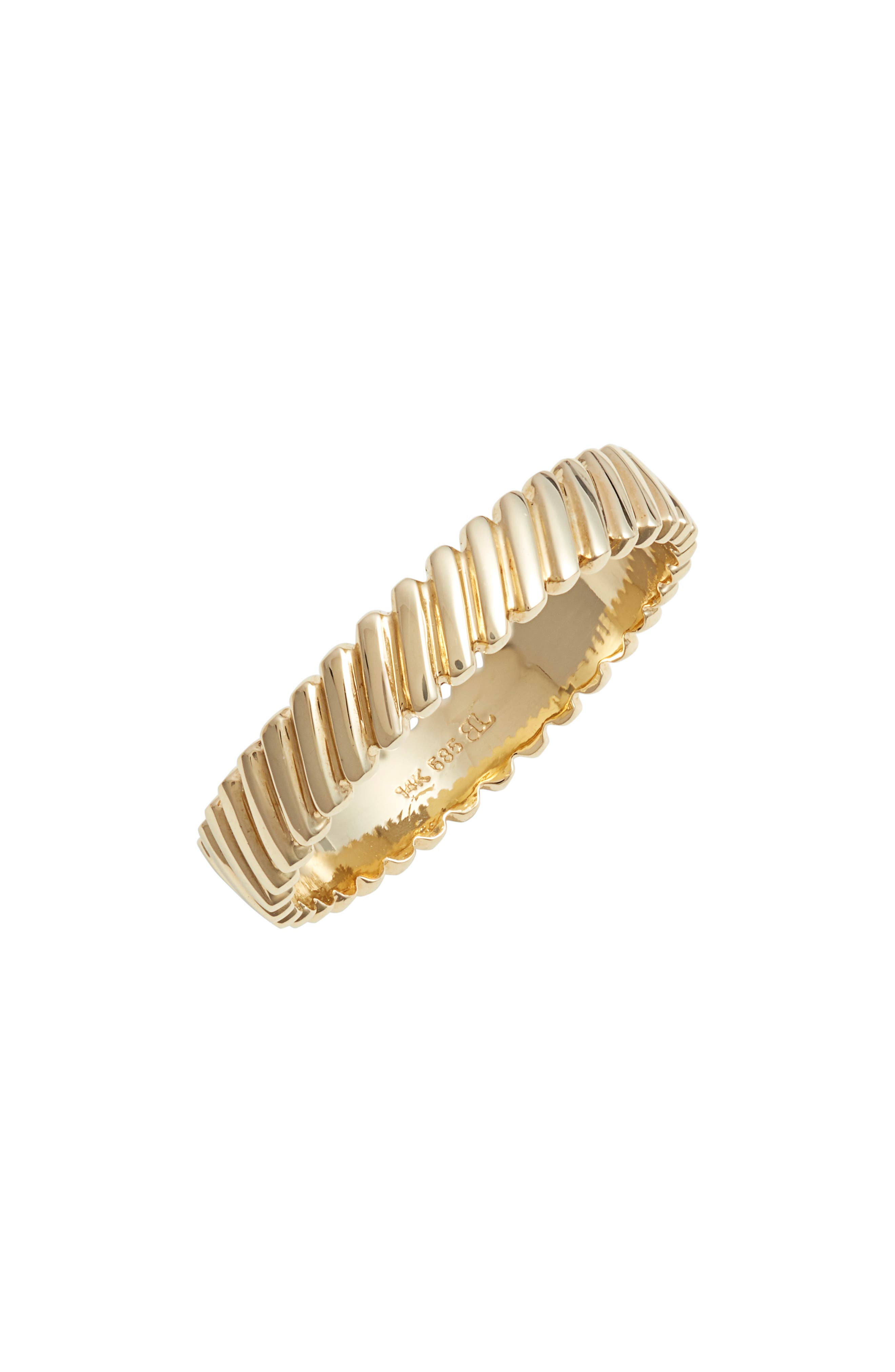 BONY LEVY, Oblique Beveled Stackable Ring, Main thumbnail 1, color, YELLOW GOLD