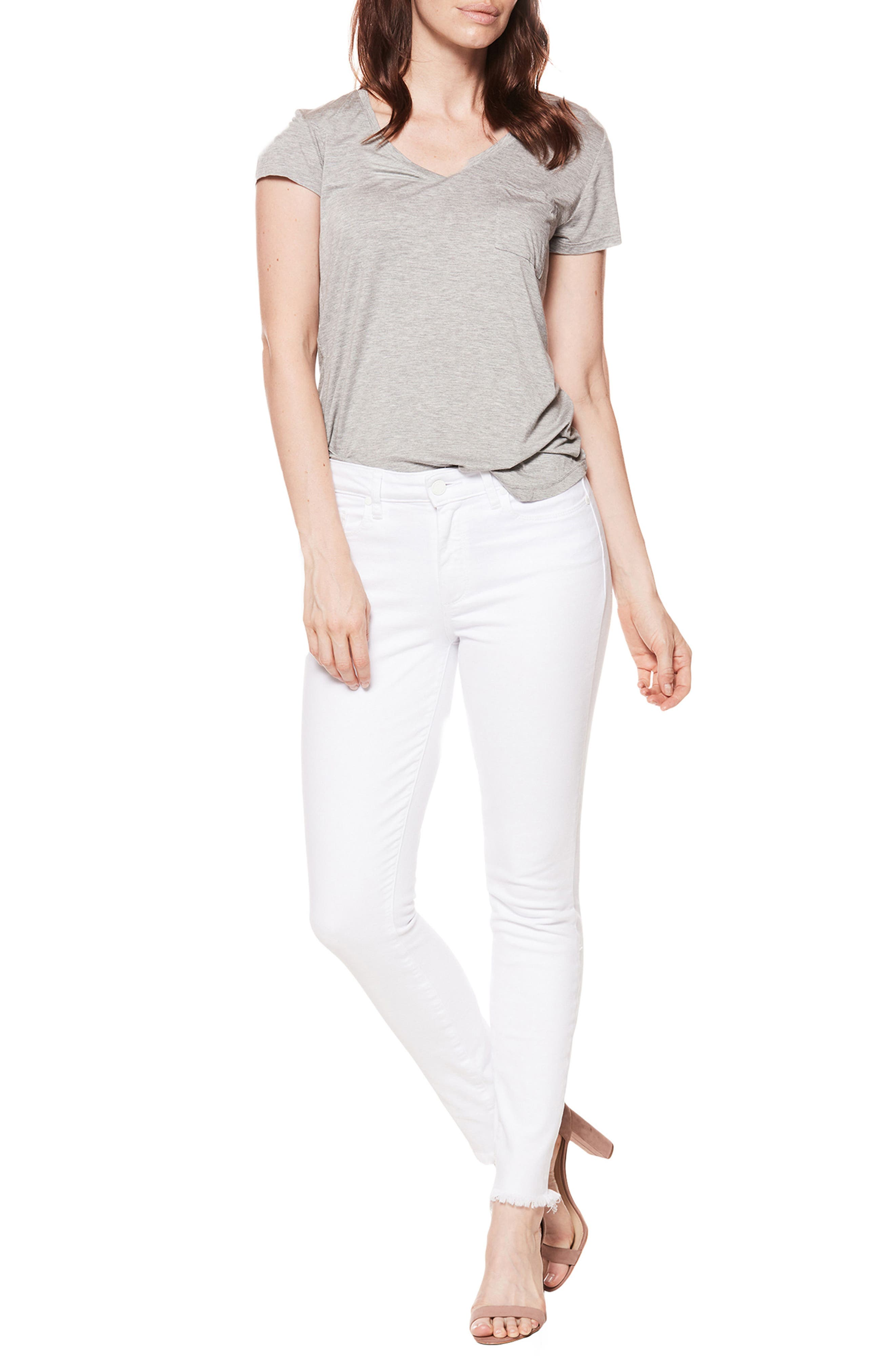 PAIGE, Hoxton High Waist Ankle Skinny Jeans, Alternate thumbnail 8, color, CRISP WHITE