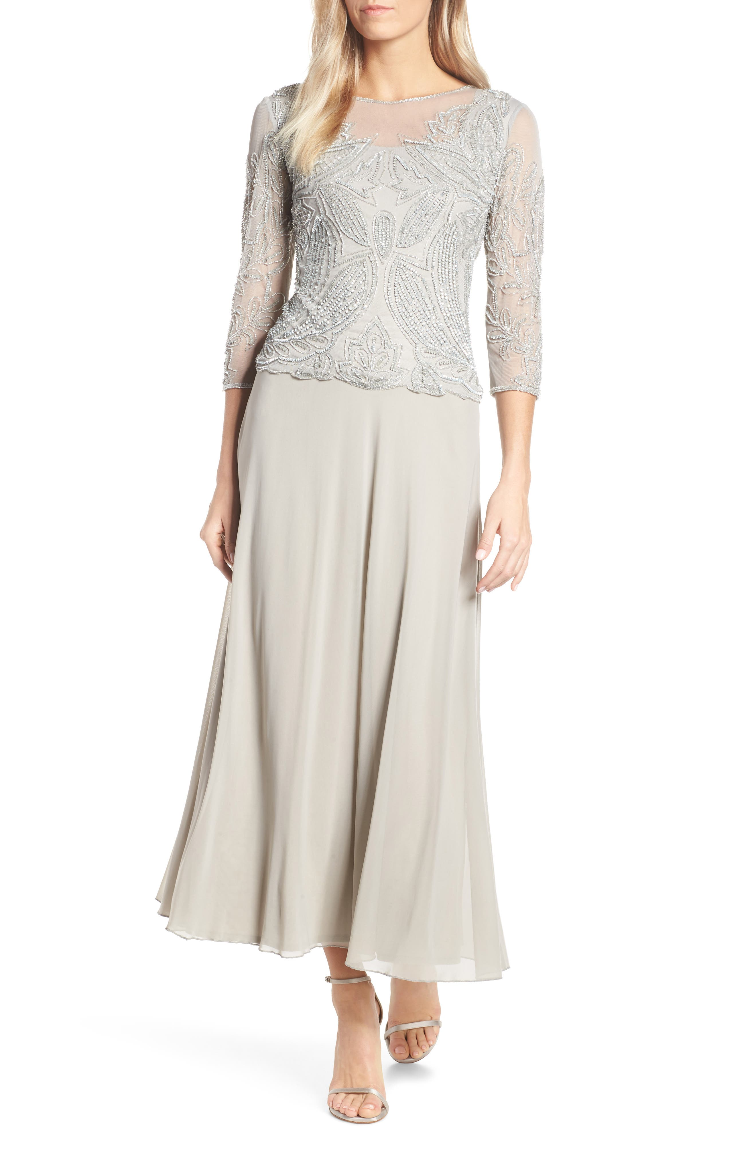 PISARRO NIGHTS, Embellished Mesh Gown, Main thumbnail 1, color, SILVER GREY