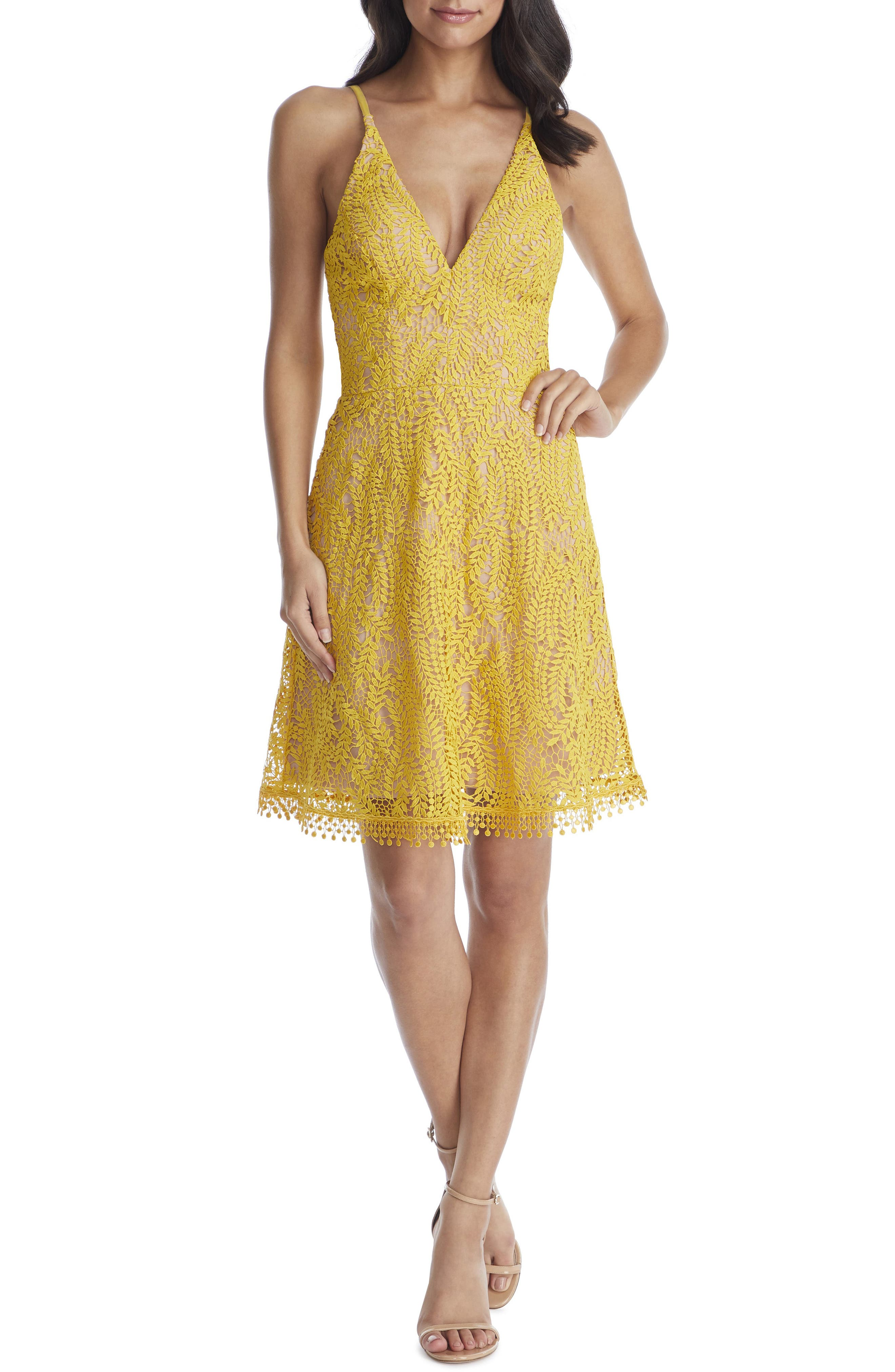 Dress The Population Piper Crochet Lace Cocktail Dress, Yellow