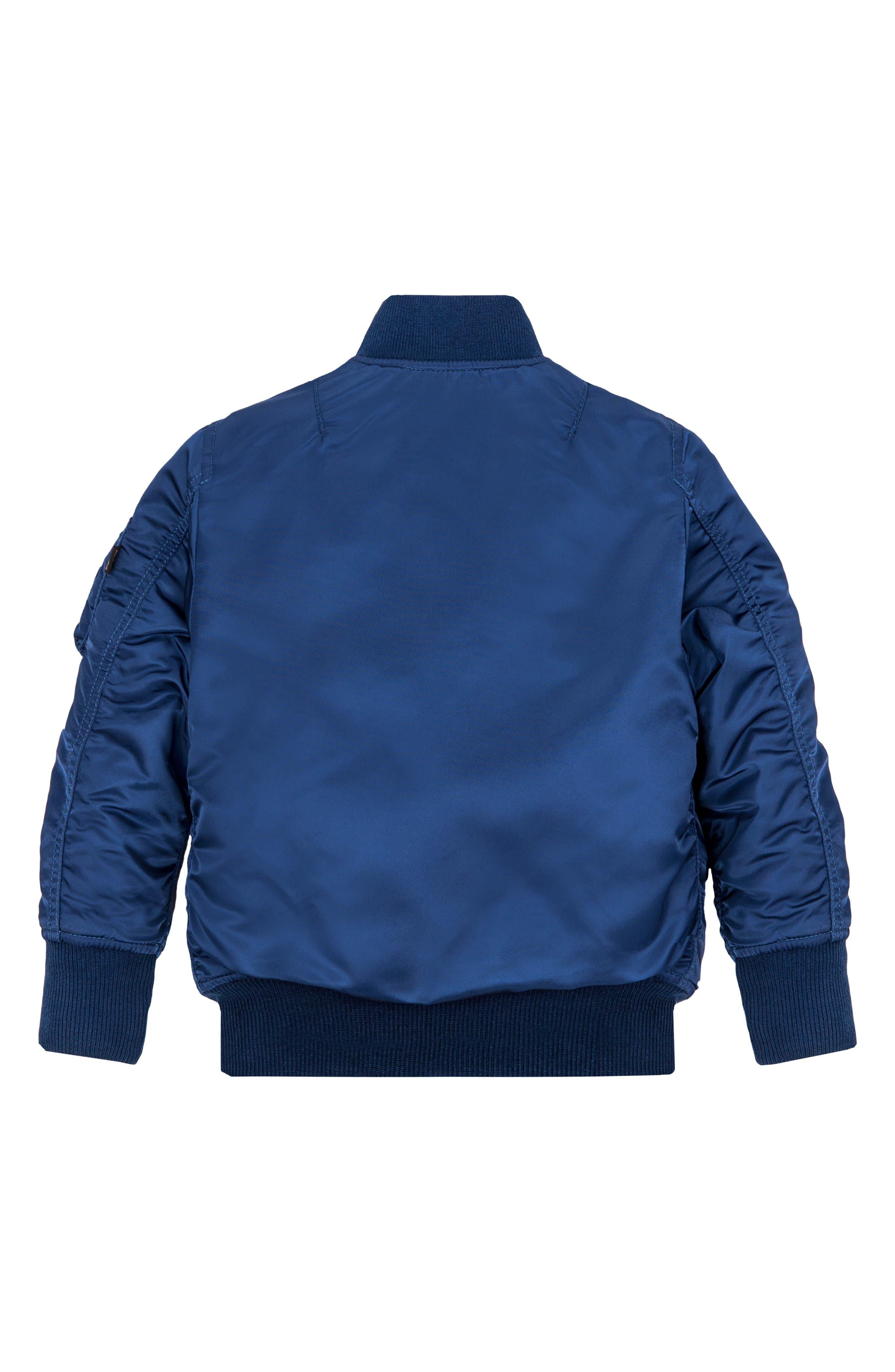 ALPHA INDUSTRIES, MA-1 Patch Flight Jacket, Alternate thumbnail 2, color, BLUE NO 9