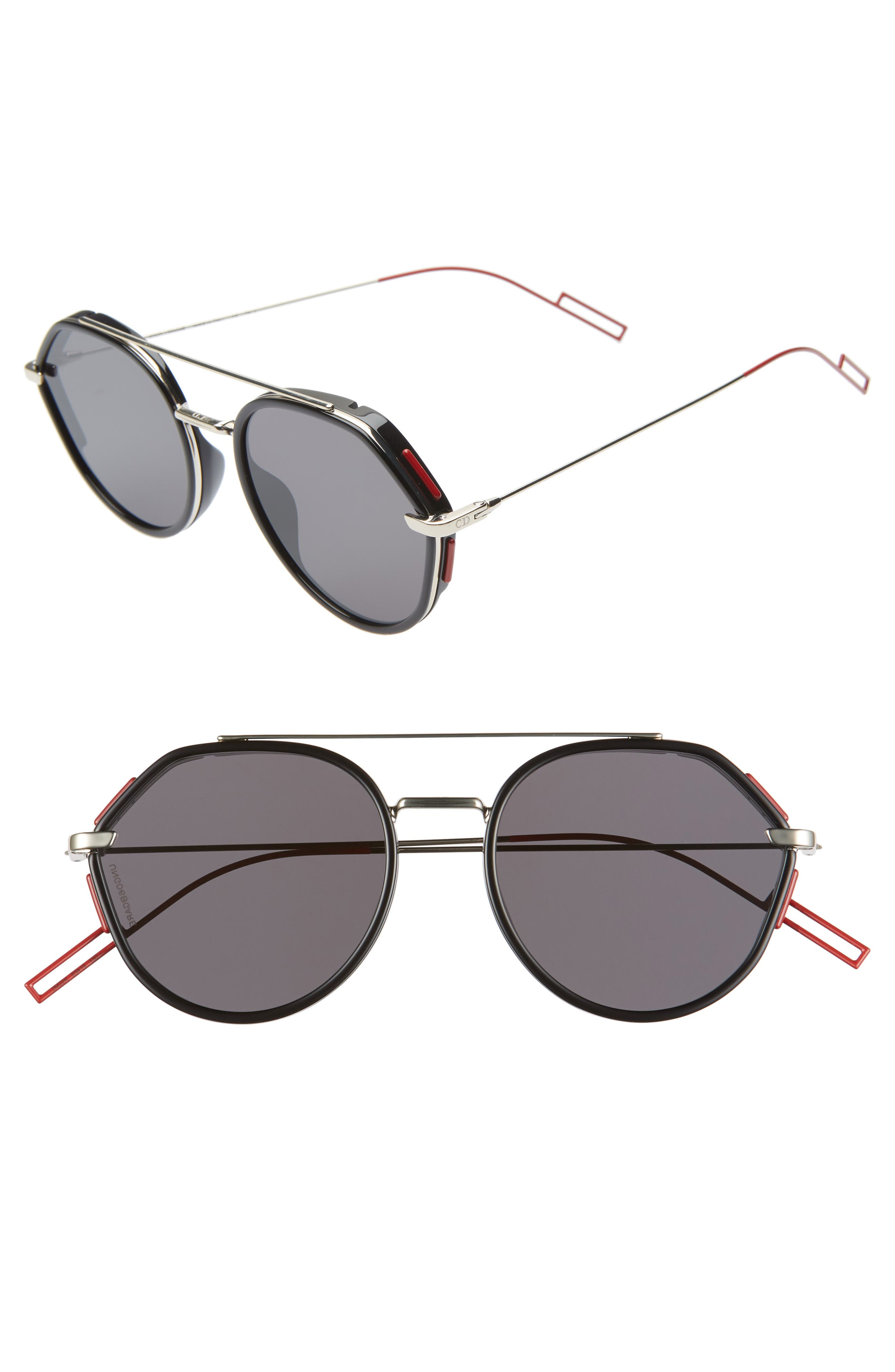 DIOR HOMME, 53mm Round Sunglasses, Main thumbnail 1, color, 001