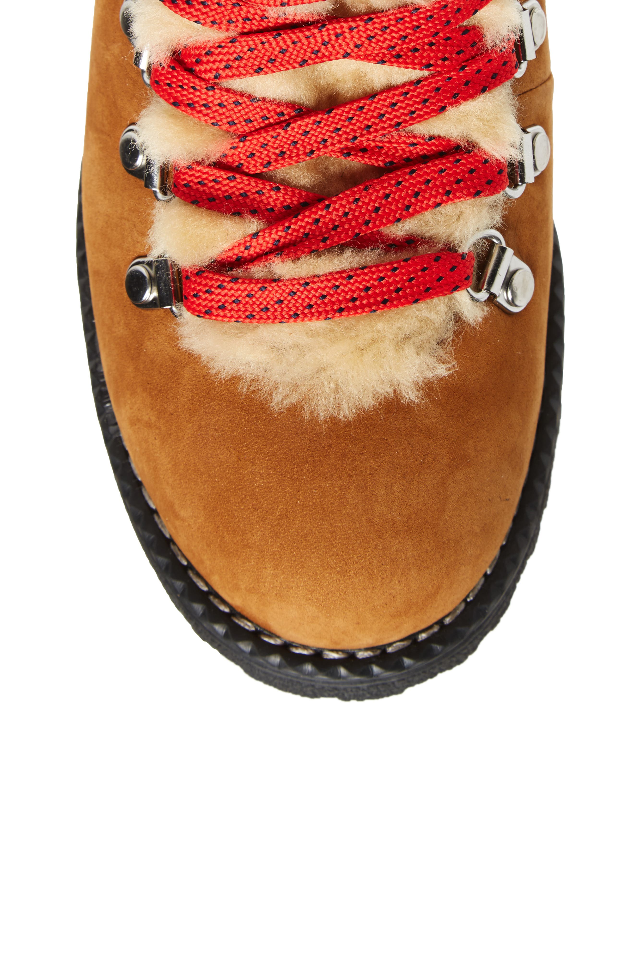 J.CREW, Nordic Genuine Shearling Cuff Winter Boot, Alternate thumbnail 5, color, GLAZED PECAN LEATHER