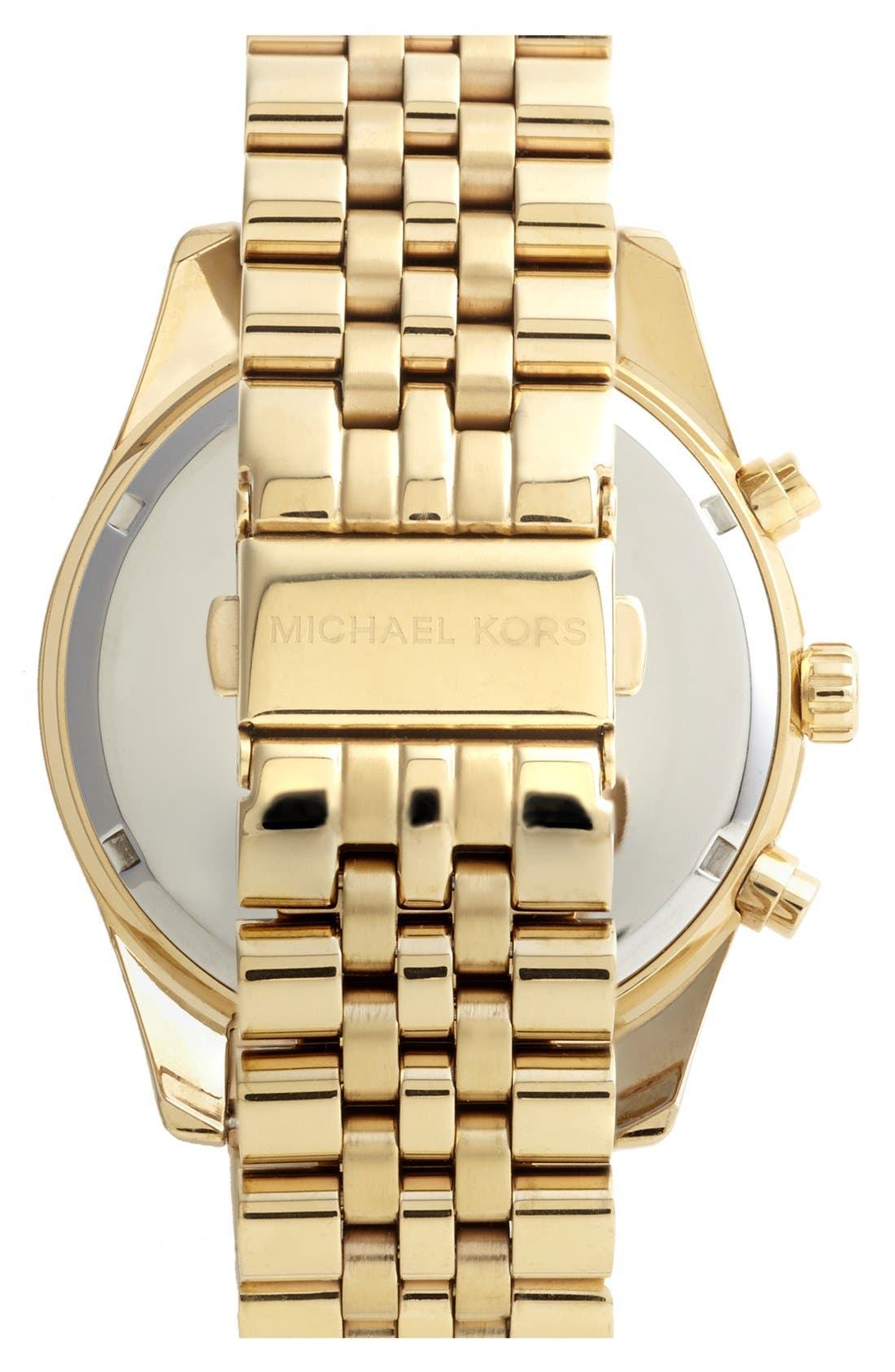 MICHAEL KORS, 'Large Lexington' Chronograph Bracelet Watch, 45mm, Alternate thumbnail 3, color, GOLD/ BLACK