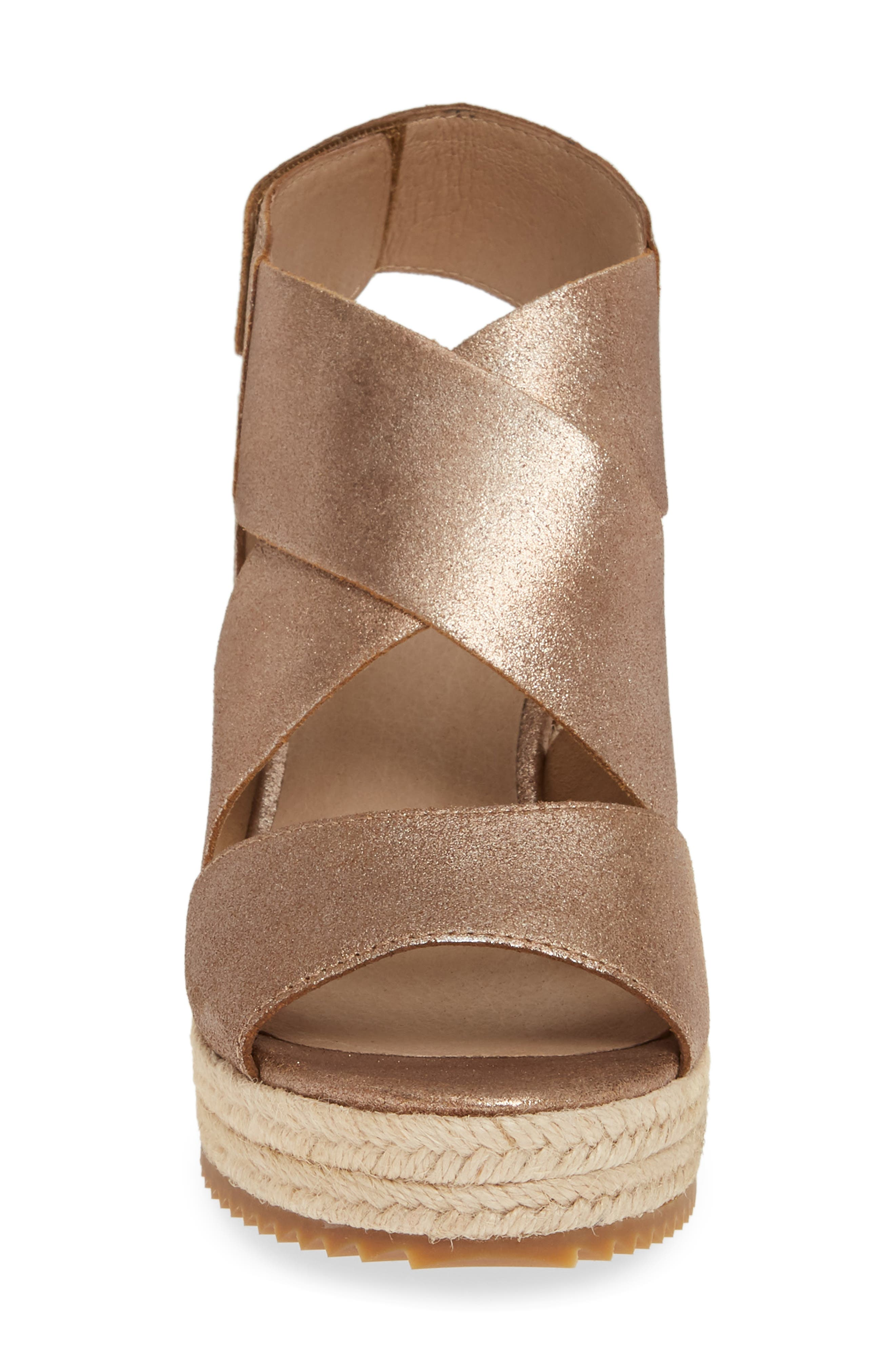 EILEEN FISHER, 'Willow' Espadrille Wedge Sandal, Alternate thumbnail 4, color, BRONZE/ BRONZE LEATHER