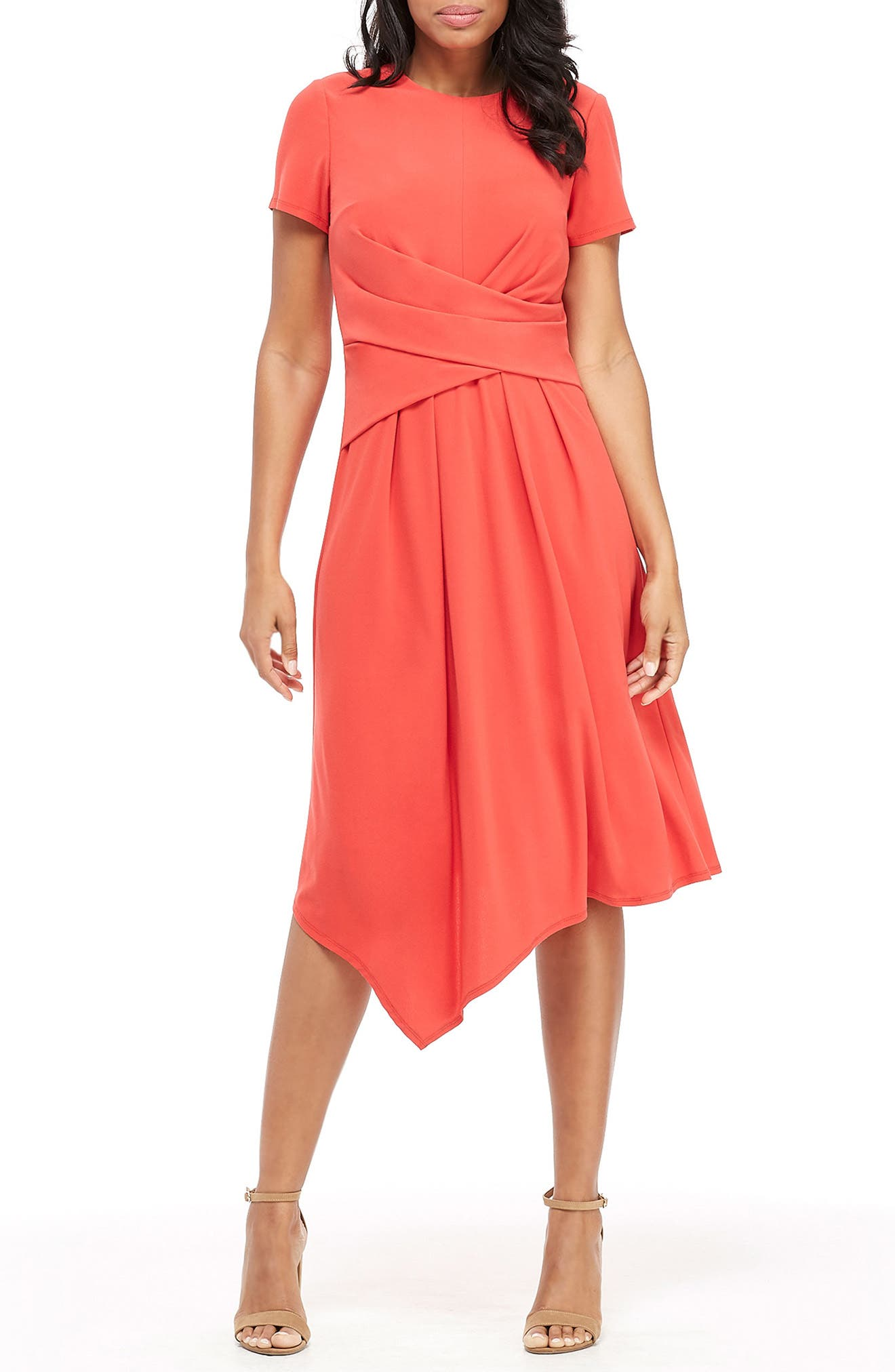 MAGGY LONDON, Draped Asymmetrical Dress, Main thumbnail 1, color, FIESTA RED