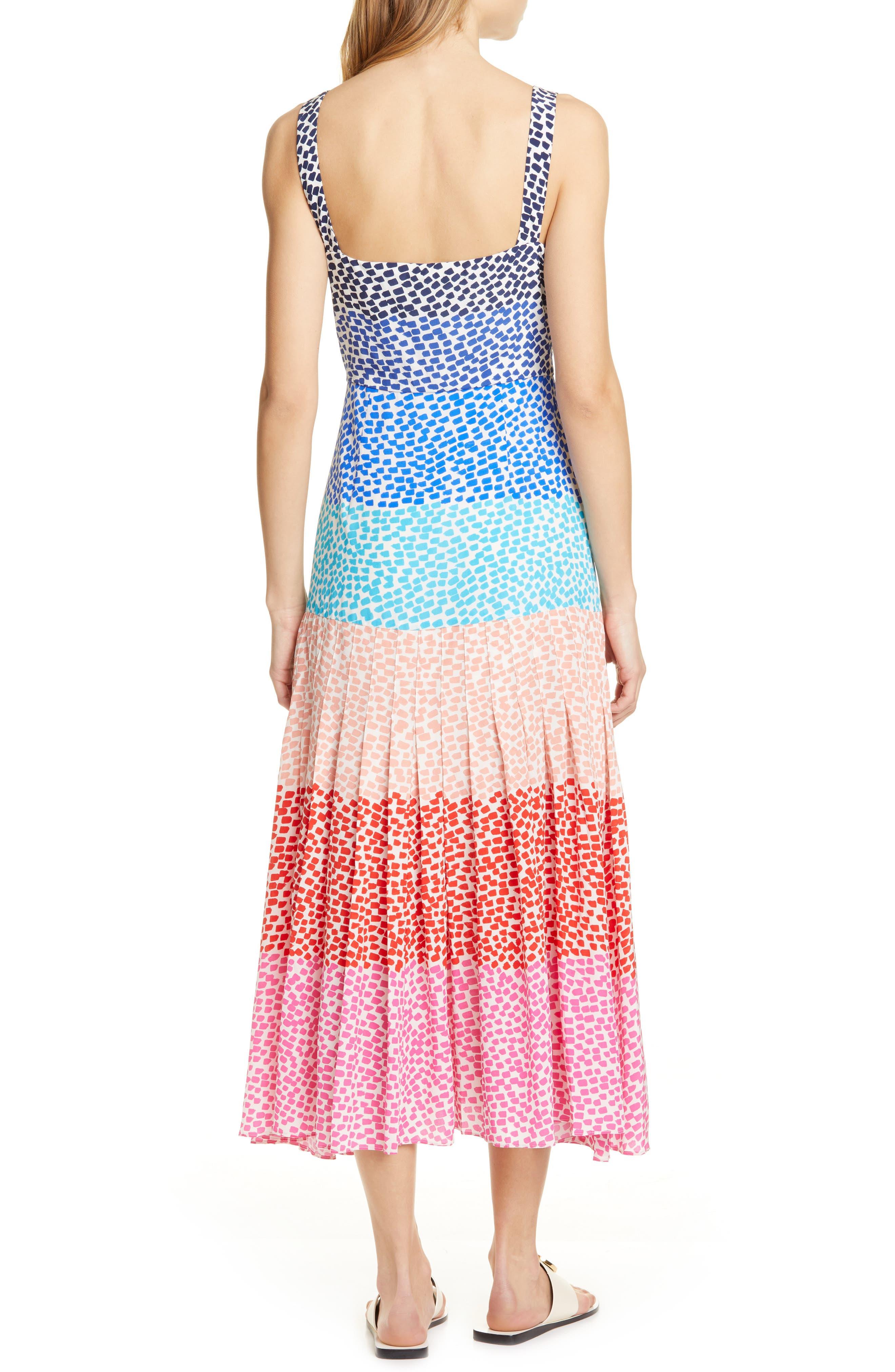 SALONI, Karen Stripe Silk Dress, Alternate thumbnail 2, color, RAINBOW GRADIENT PLMT