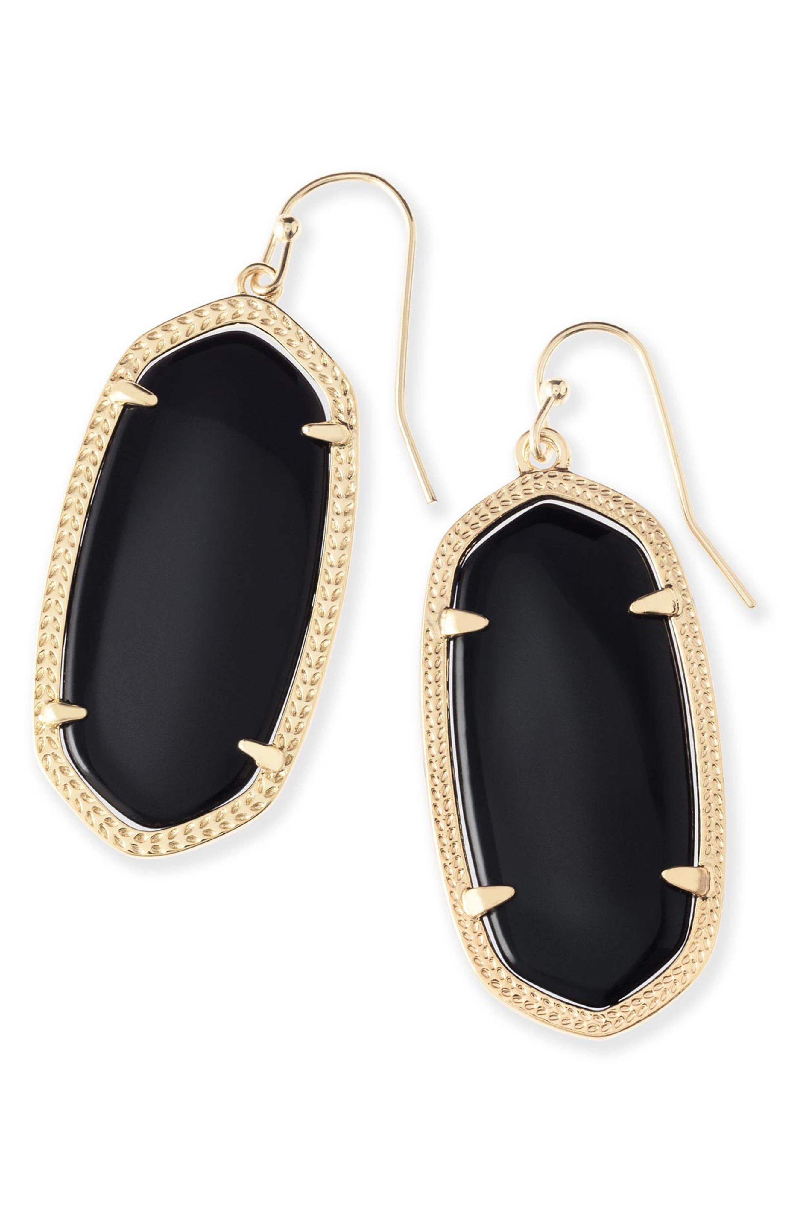 KENDRA SCOTT, Elle Filigree Drop Earrings, Main thumbnail 1, color, BLACK/ GOLD