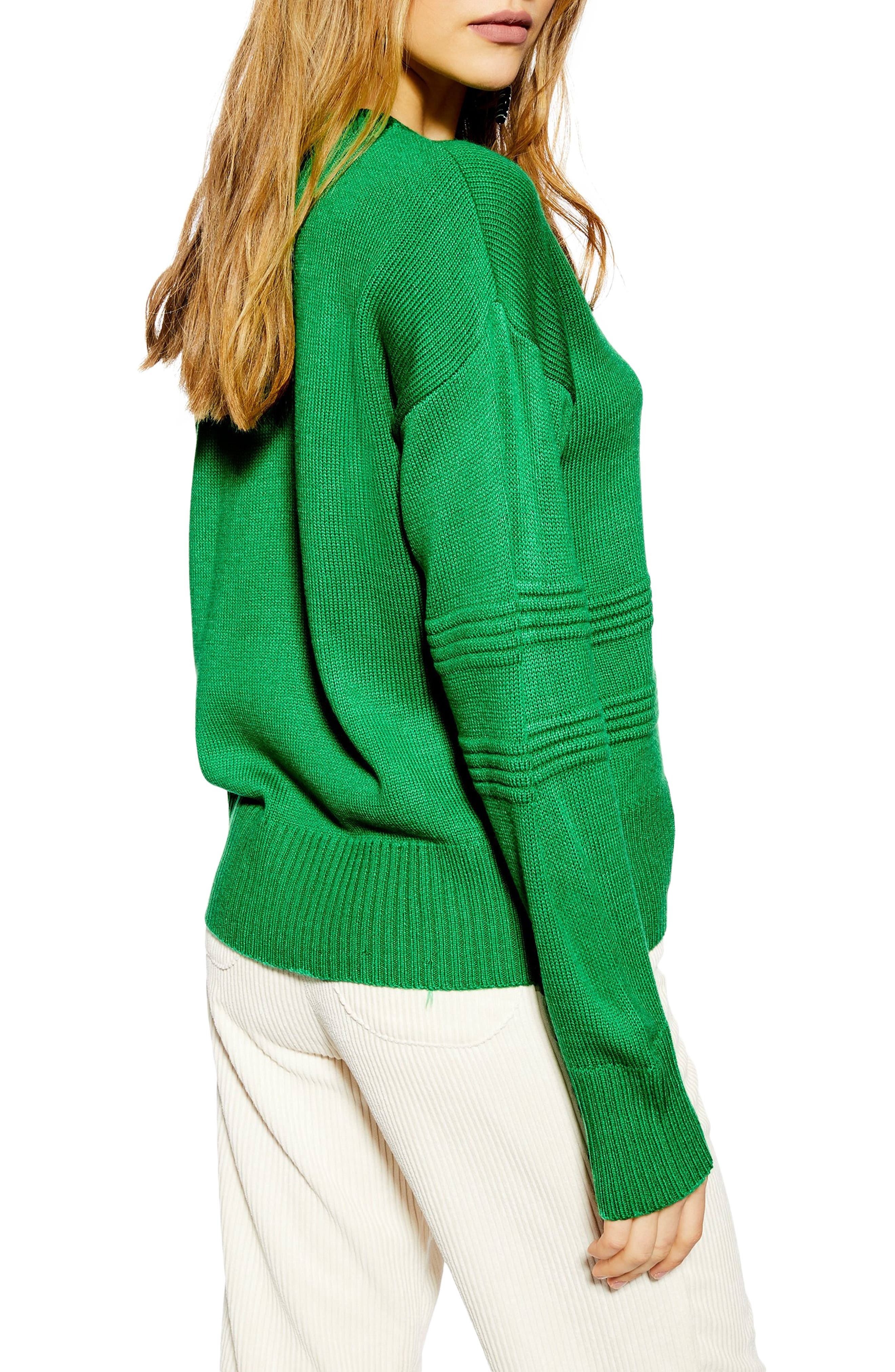 TOPSHOP, Ottoman Stitch Sweater, Alternate thumbnail 2, color, GREEN