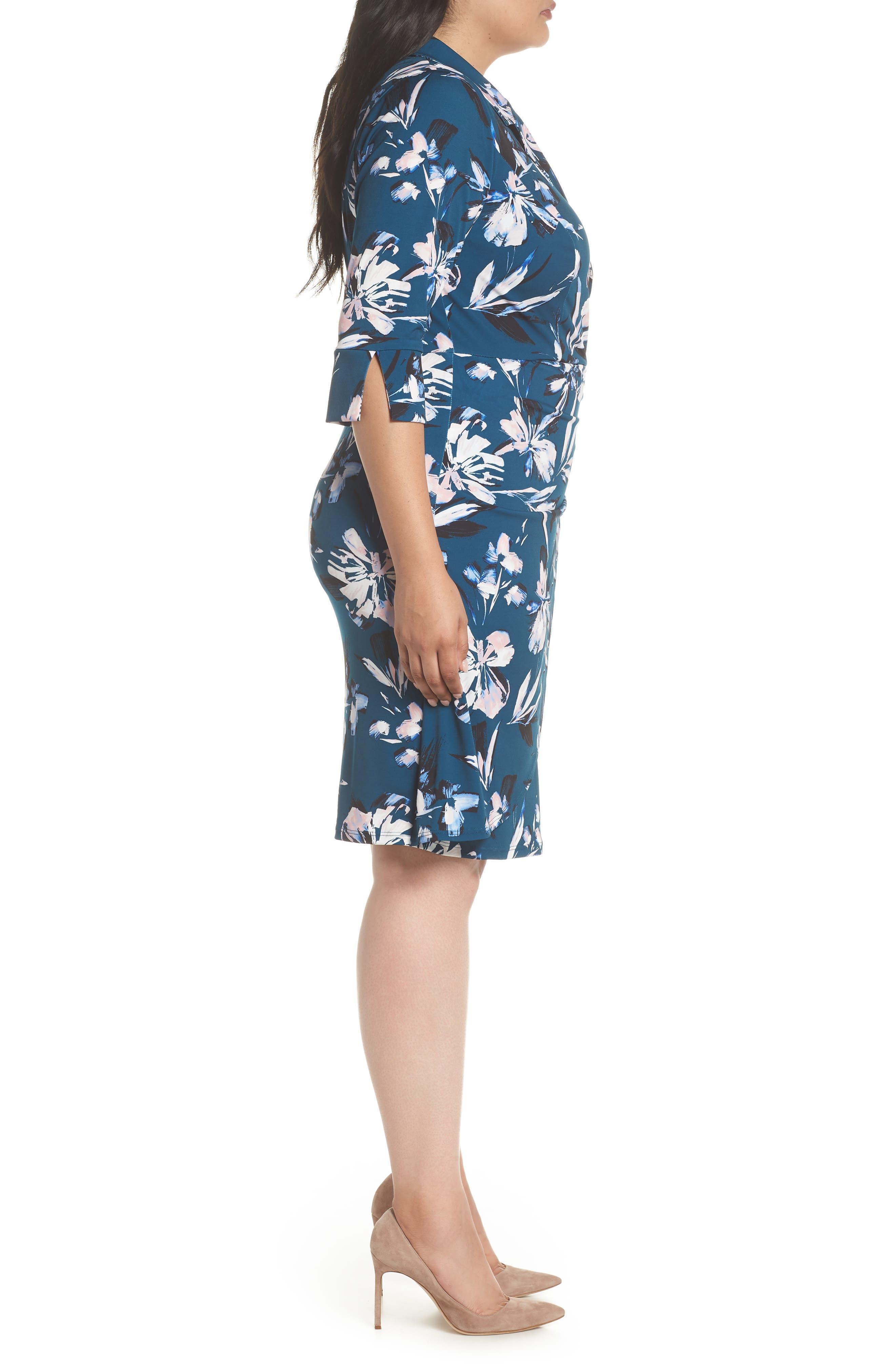 ELIZA J, Faux Wrap Floral Shirtdress, Alternate thumbnail 4, color, GREEN