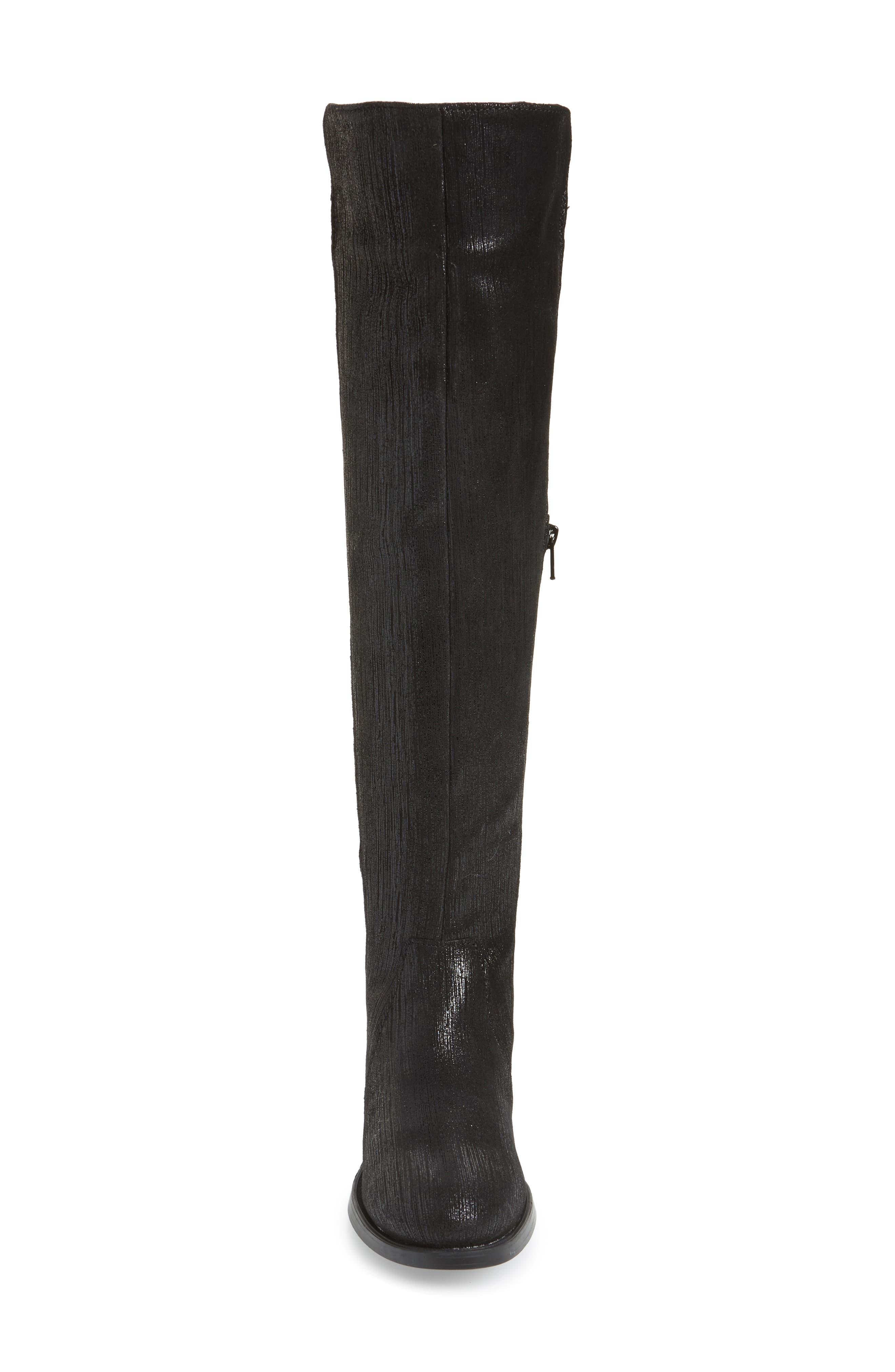 BOS. & CO., Bunt Waterproof Over the Knee Boot, Alternate thumbnail 4, color, BLACK METAL/ LYCRA