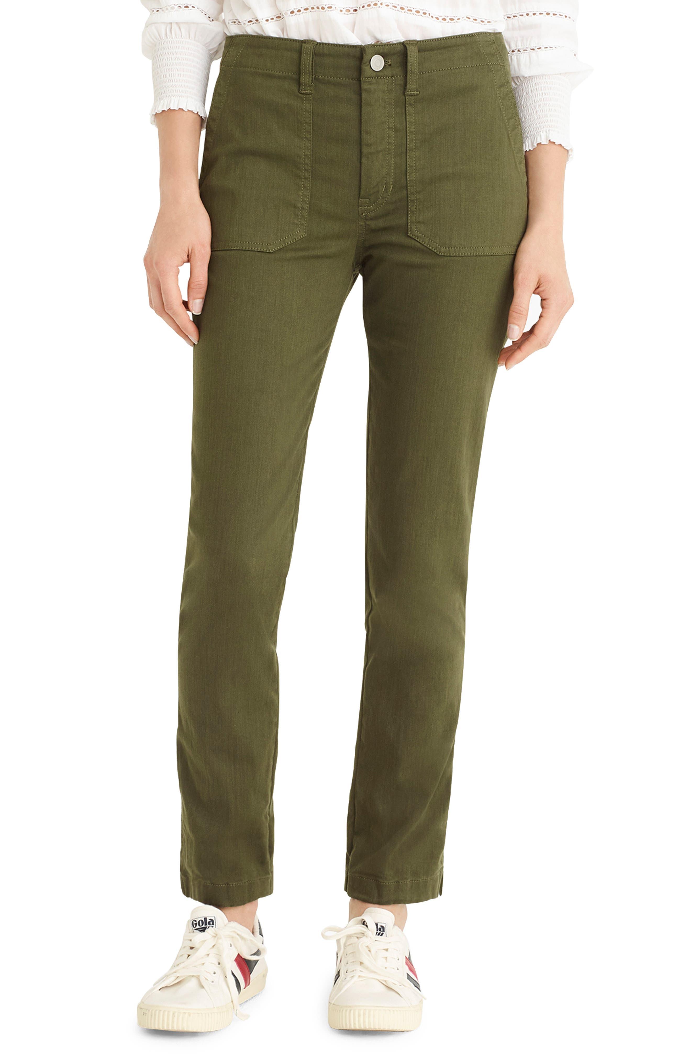 Petite J.crew Slub Sateen Straight Leg Cargo Pants, 3P - Green