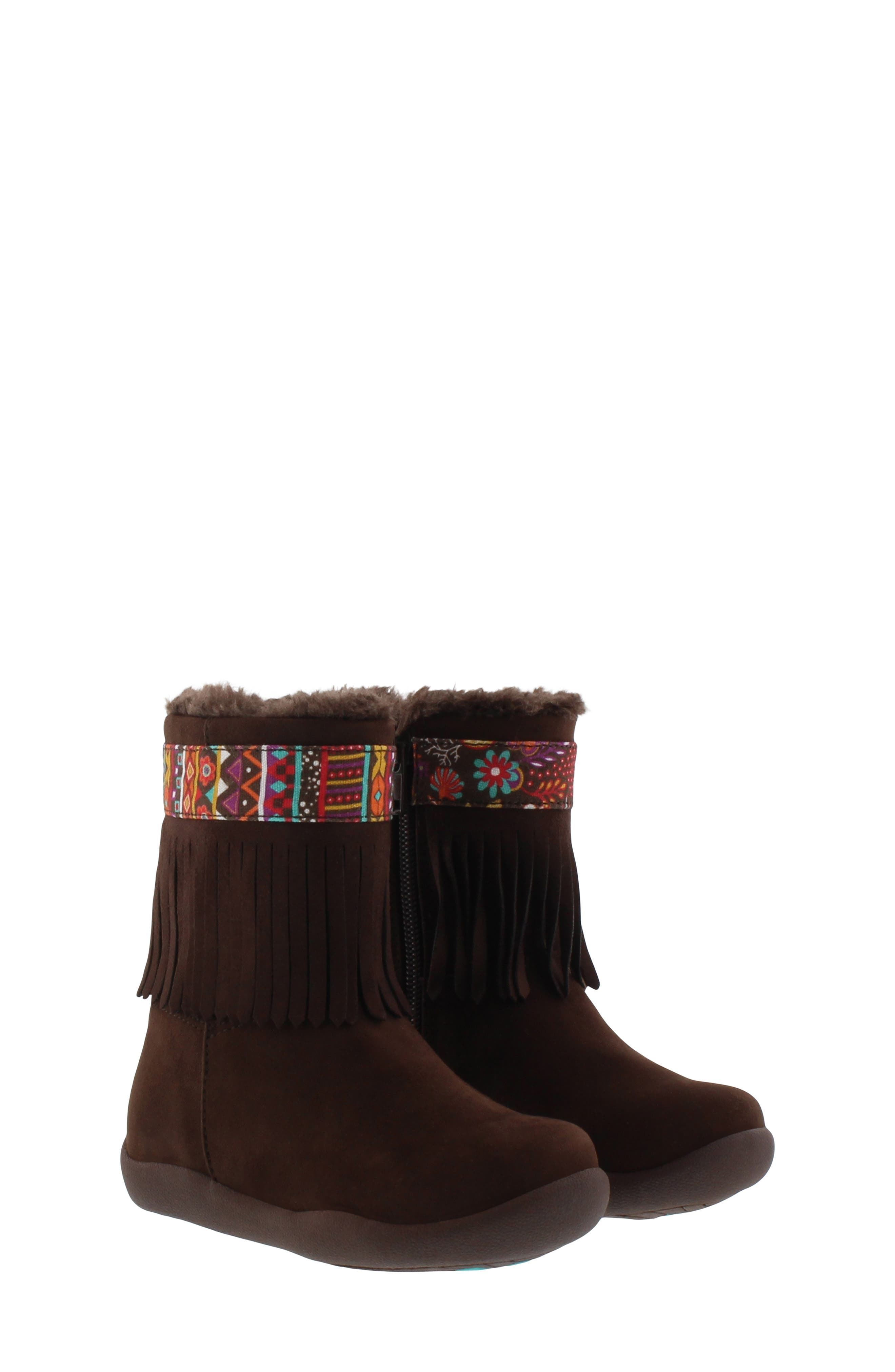 CHOOZE Faux Fur Fringed Hope Bootie, Main, color, BROWN