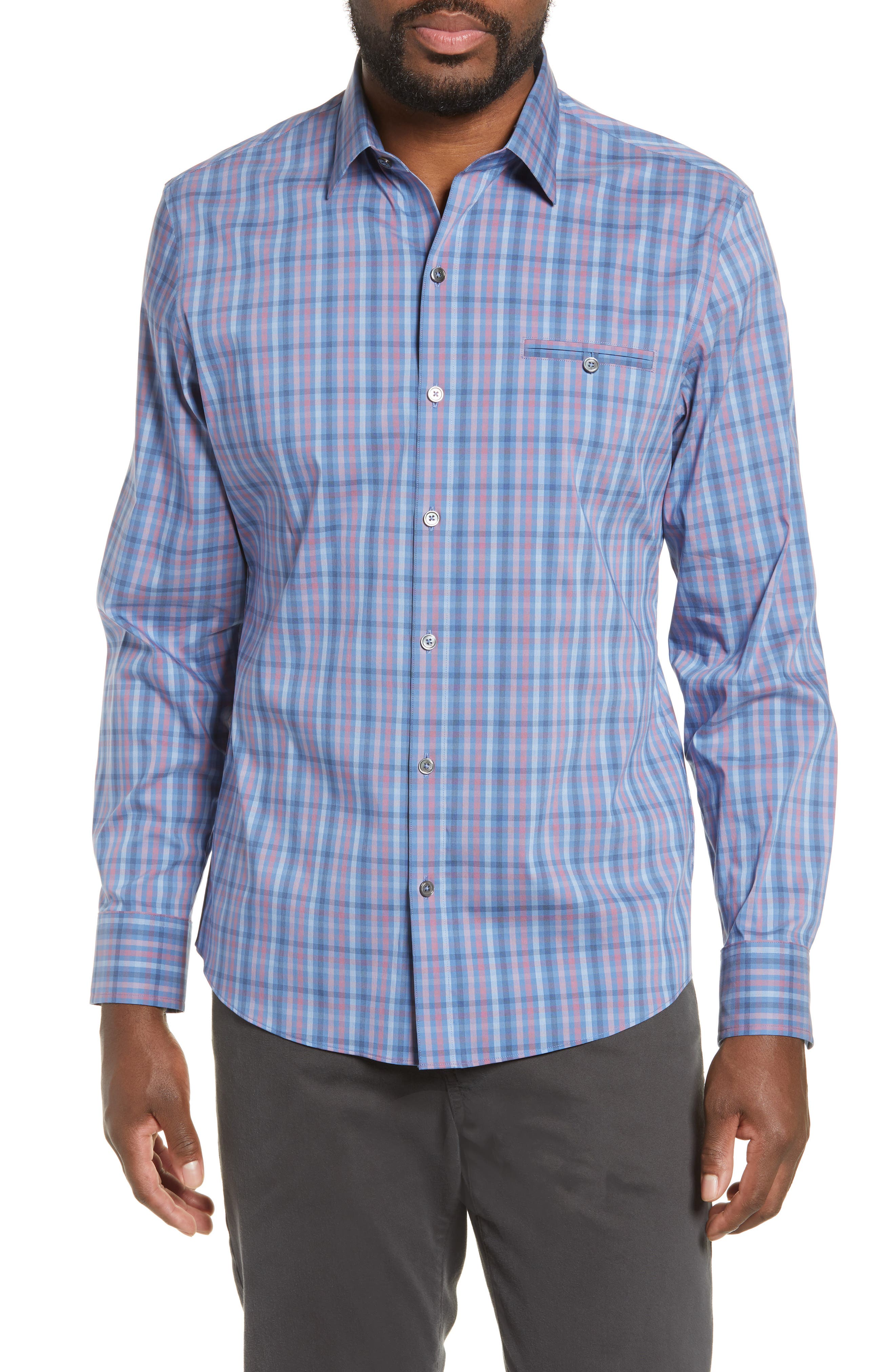 ZACHARY PRELL, Guastella Regular Fit Sport Shirt, Main thumbnail 1, color, AZURE