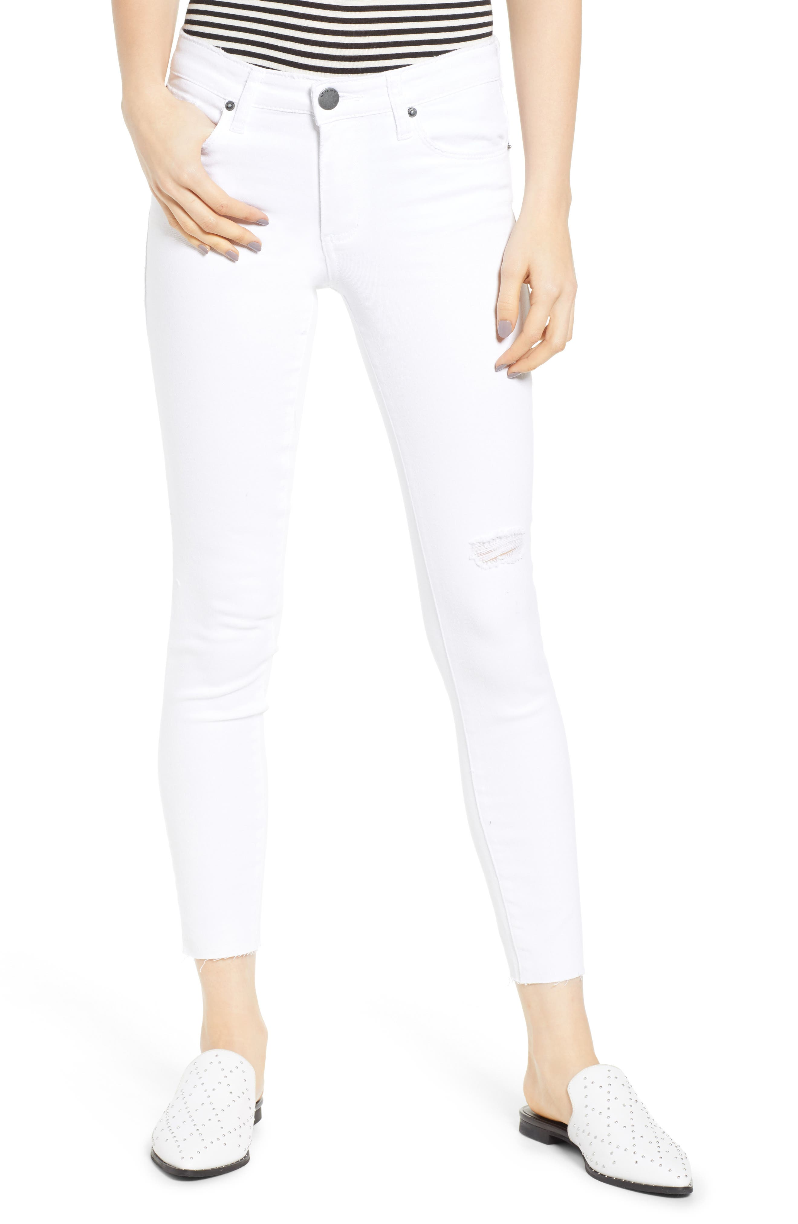 STS BLUE, Emma Cutoff Hem Crop Skinny Jeans, Main thumbnail 1, color, OPTIC WHITE
