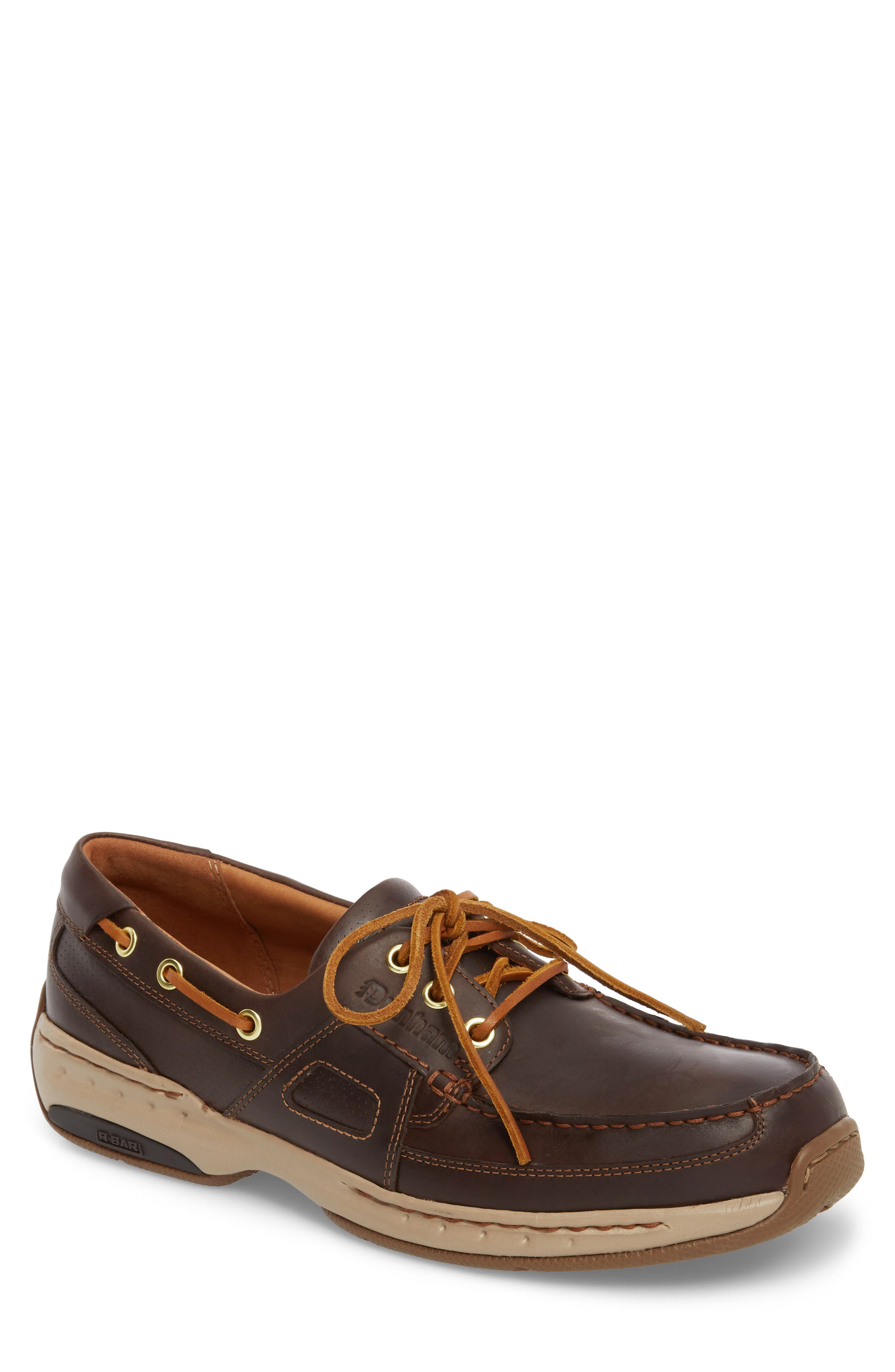 DUNHAM, LTD Water Resistant Boat Shoe, Main thumbnail 1, color, TAN LEATHER