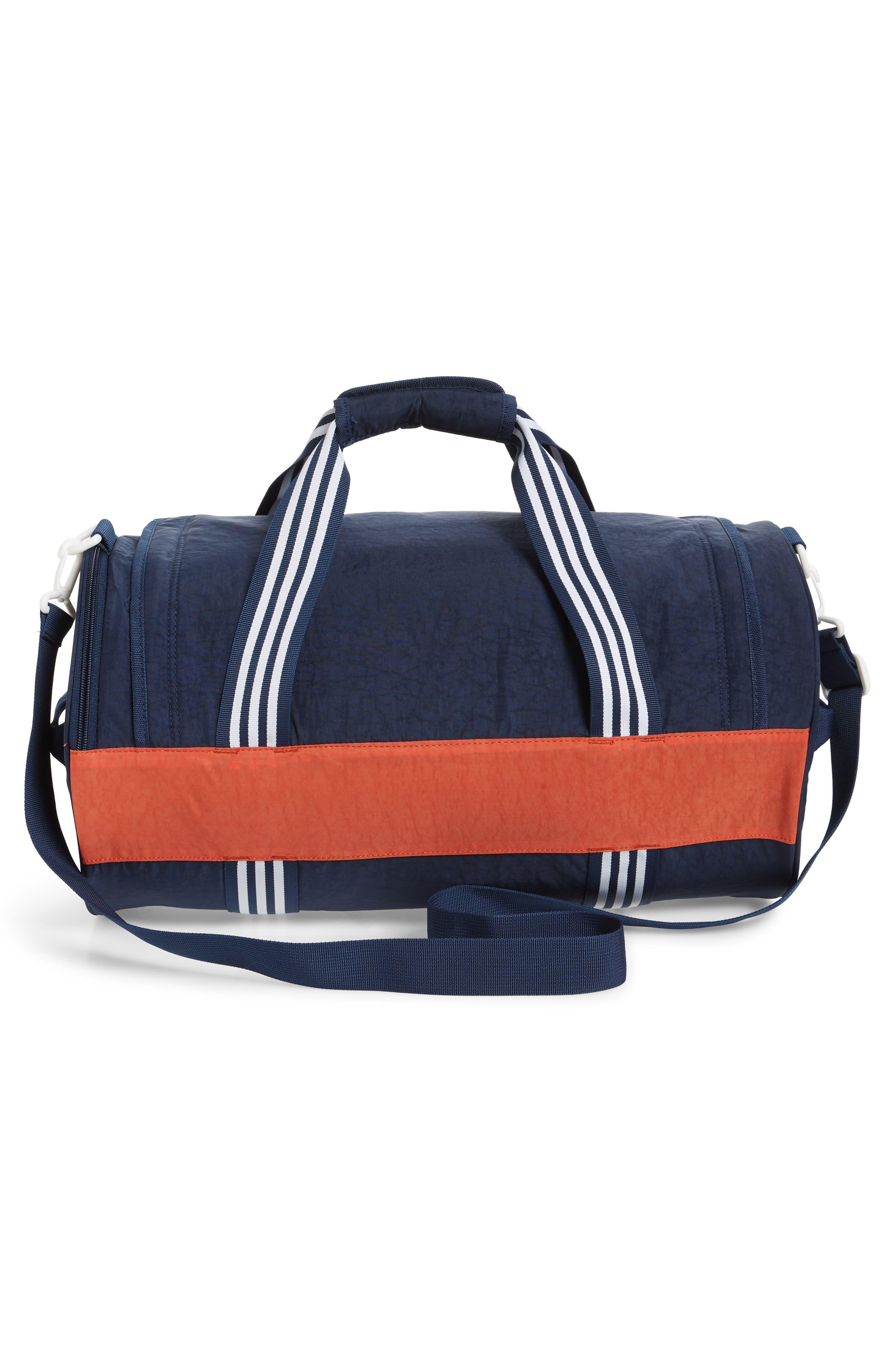 ADIDAS ORIGINALS, adidas Spirit Roll Duffle Bag, Alternate thumbnail 3, color, COLLEGIATE NAVY/ AMBER/ WHITE