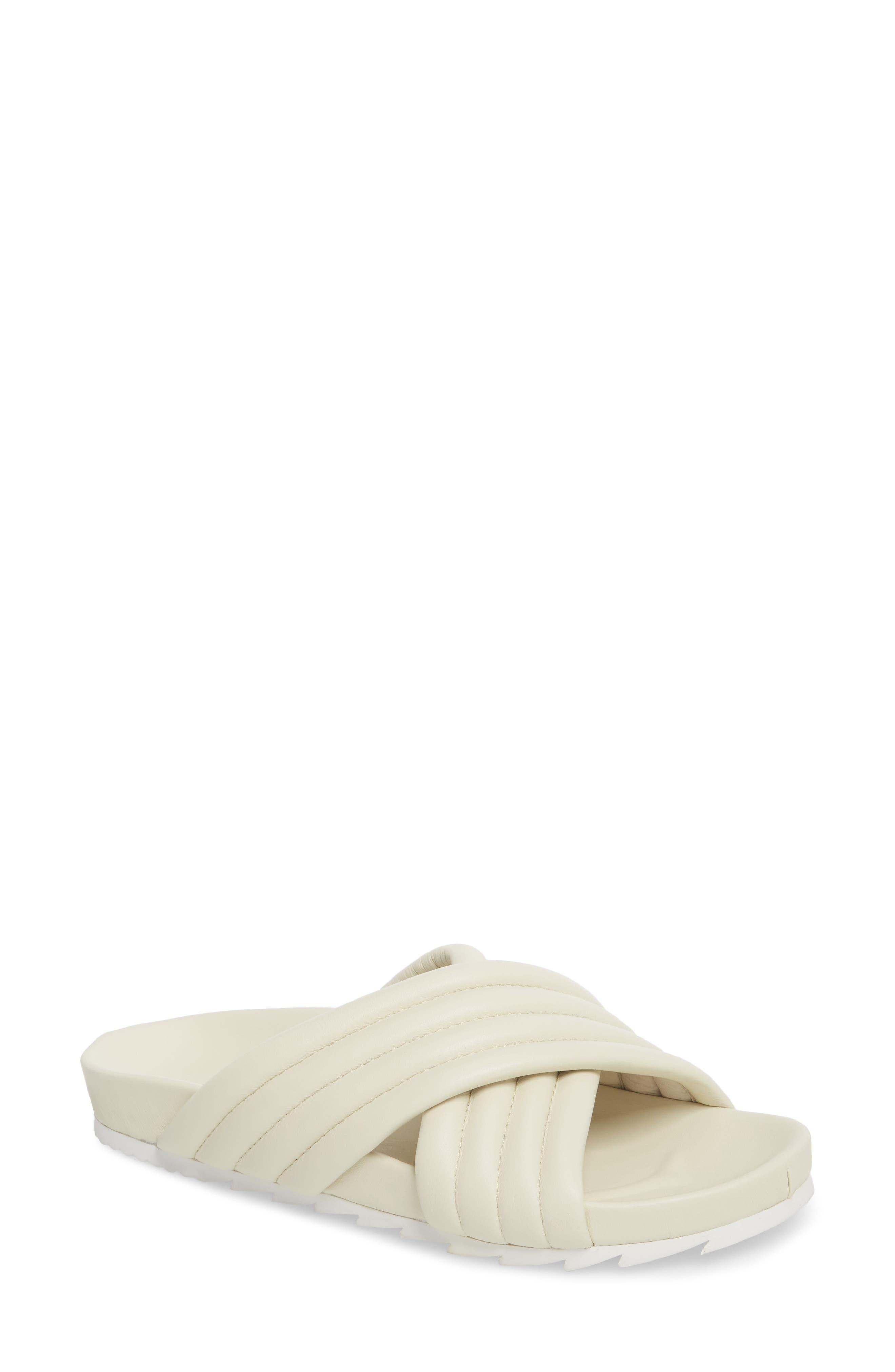 JSLIDES Easy Slide Sandal, Main, color, OFF WHITE LEATHER