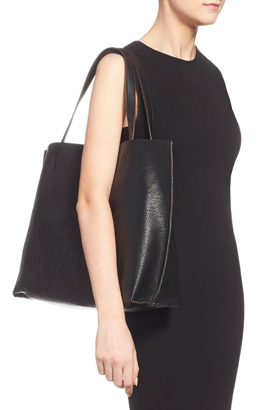STREET LEVEL, Reversible Faux Leather Tote, Alternate thumbnail 3, color, 004