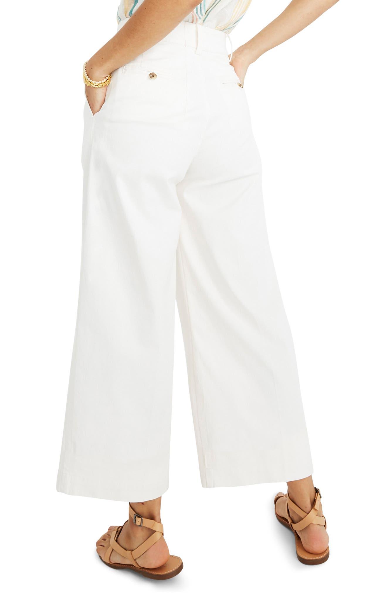 MADEWELL, High Waist Crop Wide Leg Pants, Alternate thumbnail 2, color, LIGHTHOUSE
