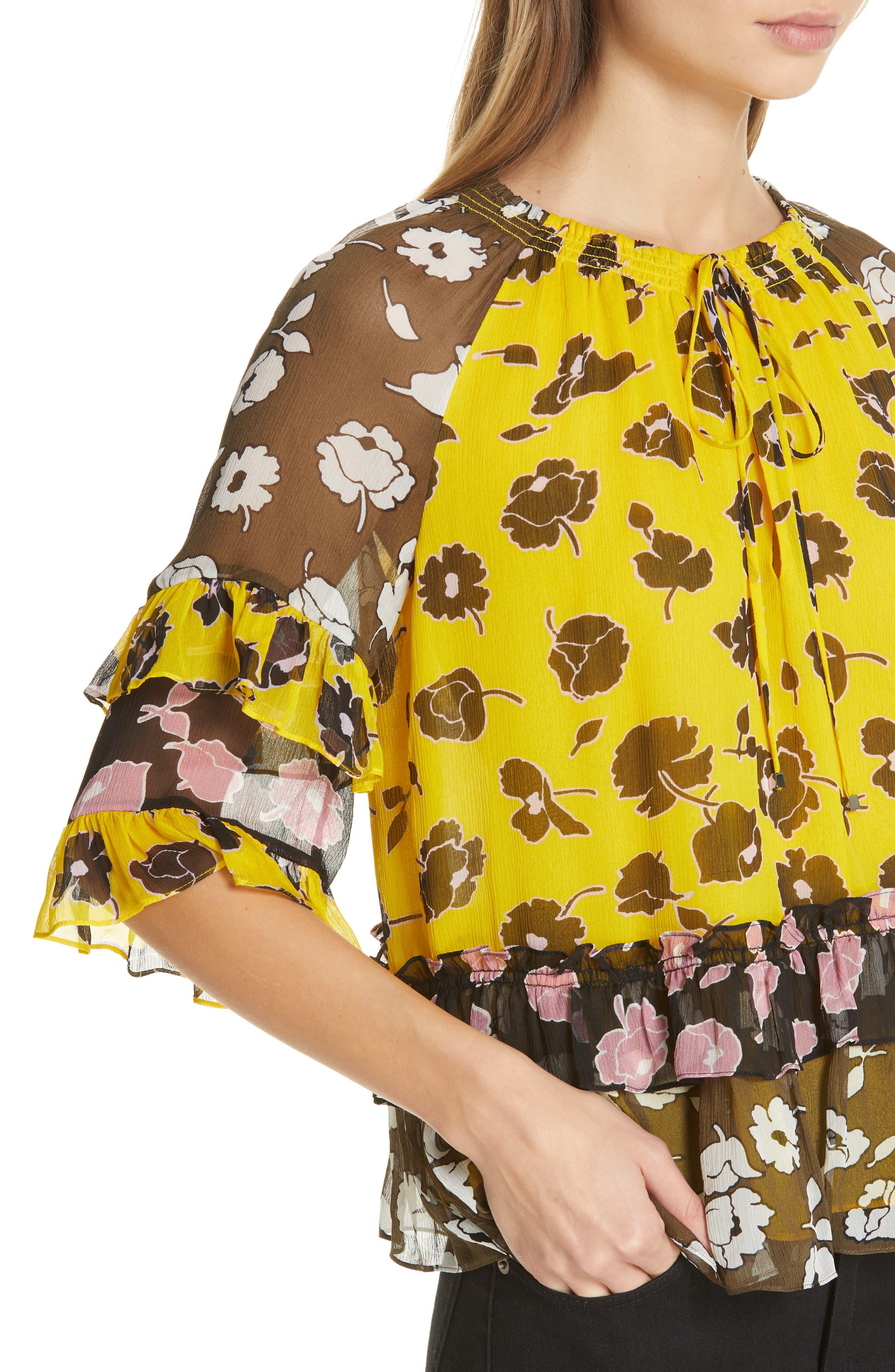 DVF, Annabel Silk Top, Alternate thumbnail 4, color, ROSE SHOWERS GOLDENROD MULTI