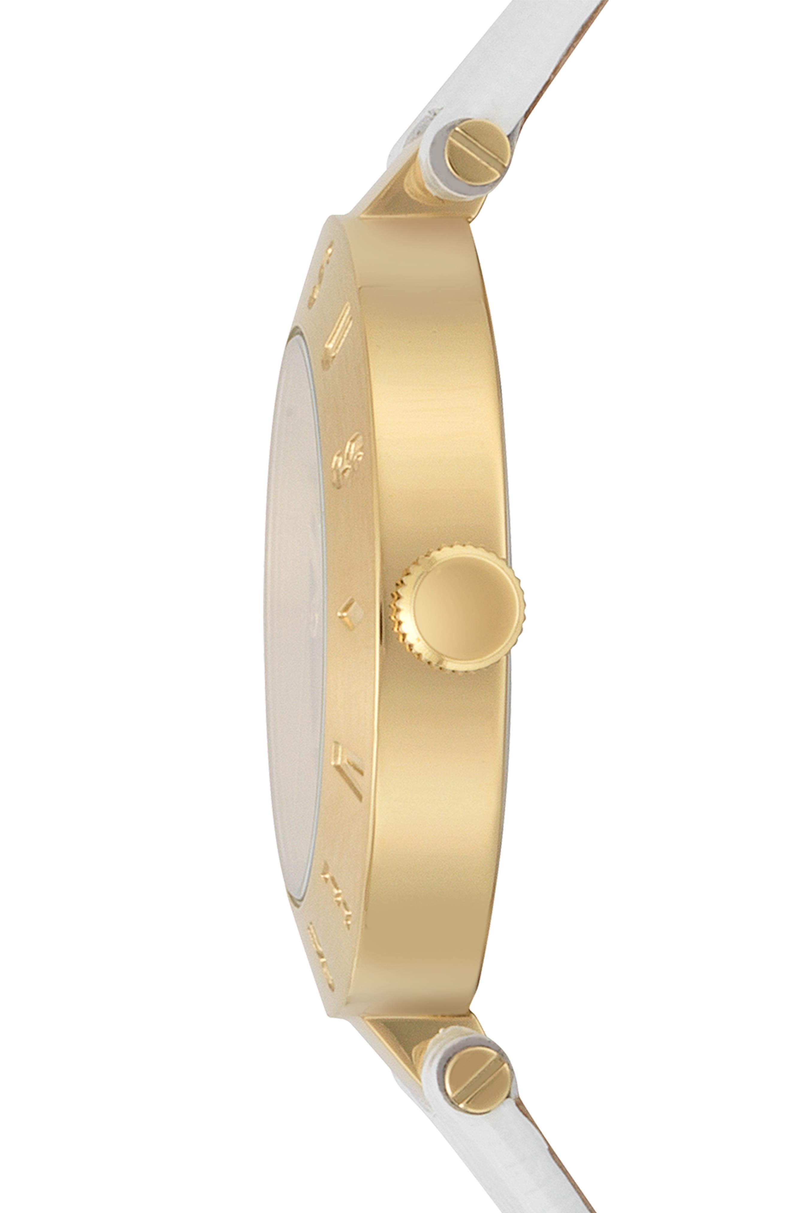 VERSUS VERSACE, Logo Leather Strap Watch, 34mm, Alternate thumbnail 2, color, WHITE/ GOLD