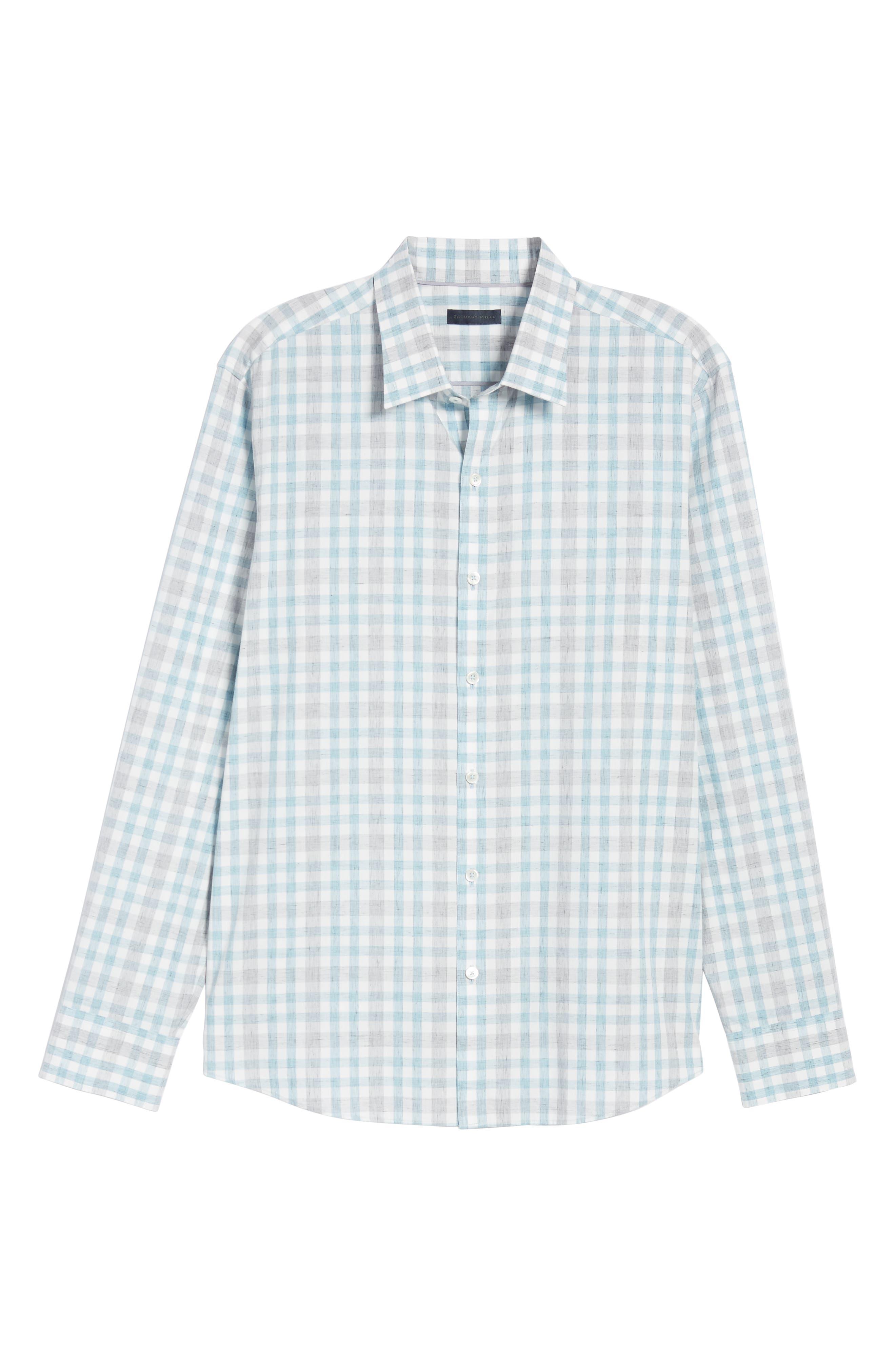 ZACHARY PRELL, Regular Fit Plaid Sport Shirt, Alternate thumbnail 5, color, LIGHT BLUE