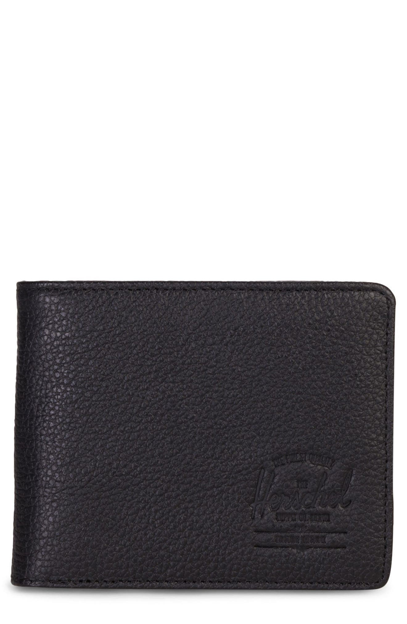 HERSCHEL SUPPLY CO., Hank Leather Wallet, Main thumbnail 1, color, BLACK PEBBLED LEATHER