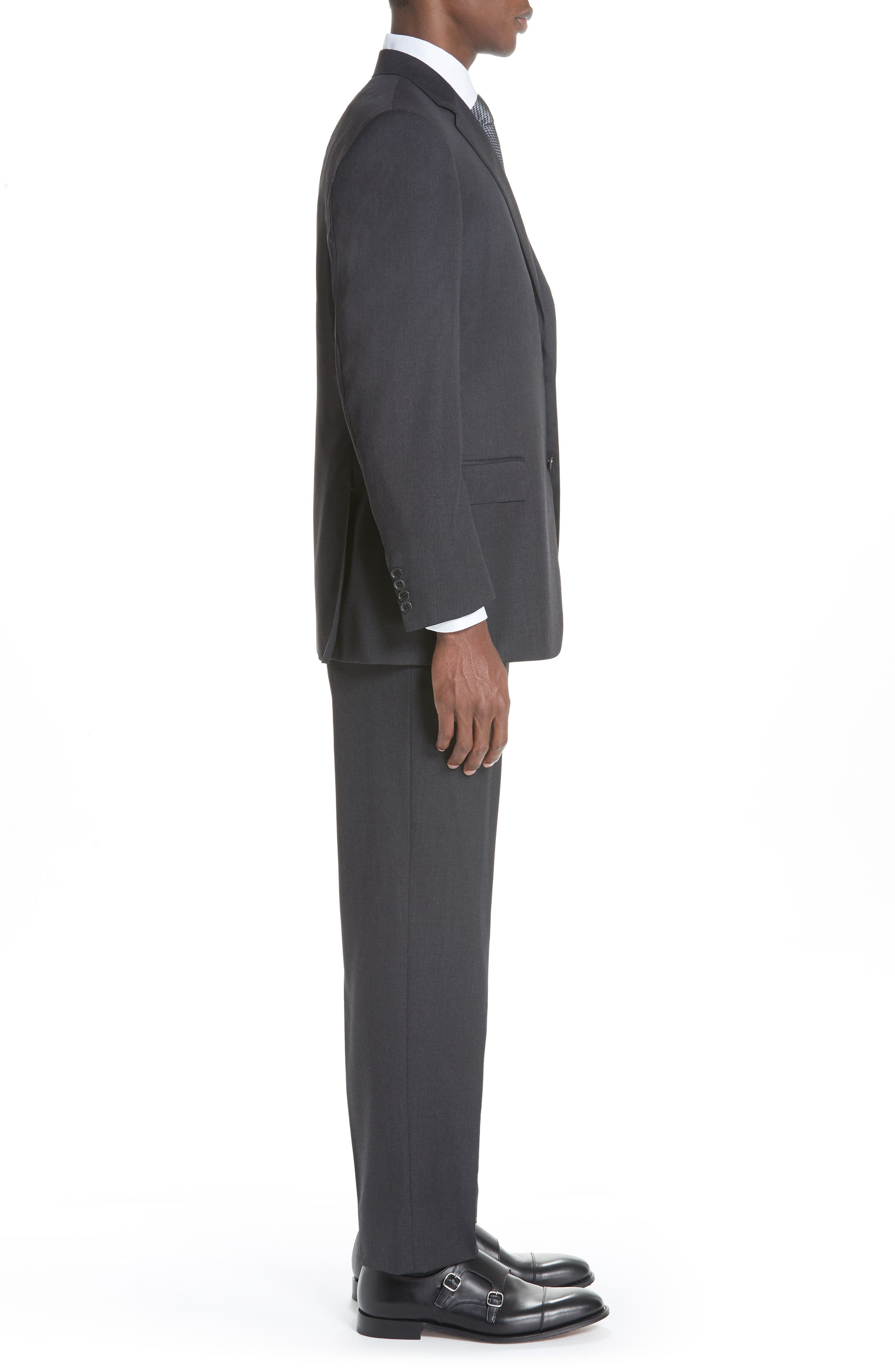 CANALI, Classic Fit Wool Suit, Alternate thumbnail 3, color, CHARCOAL