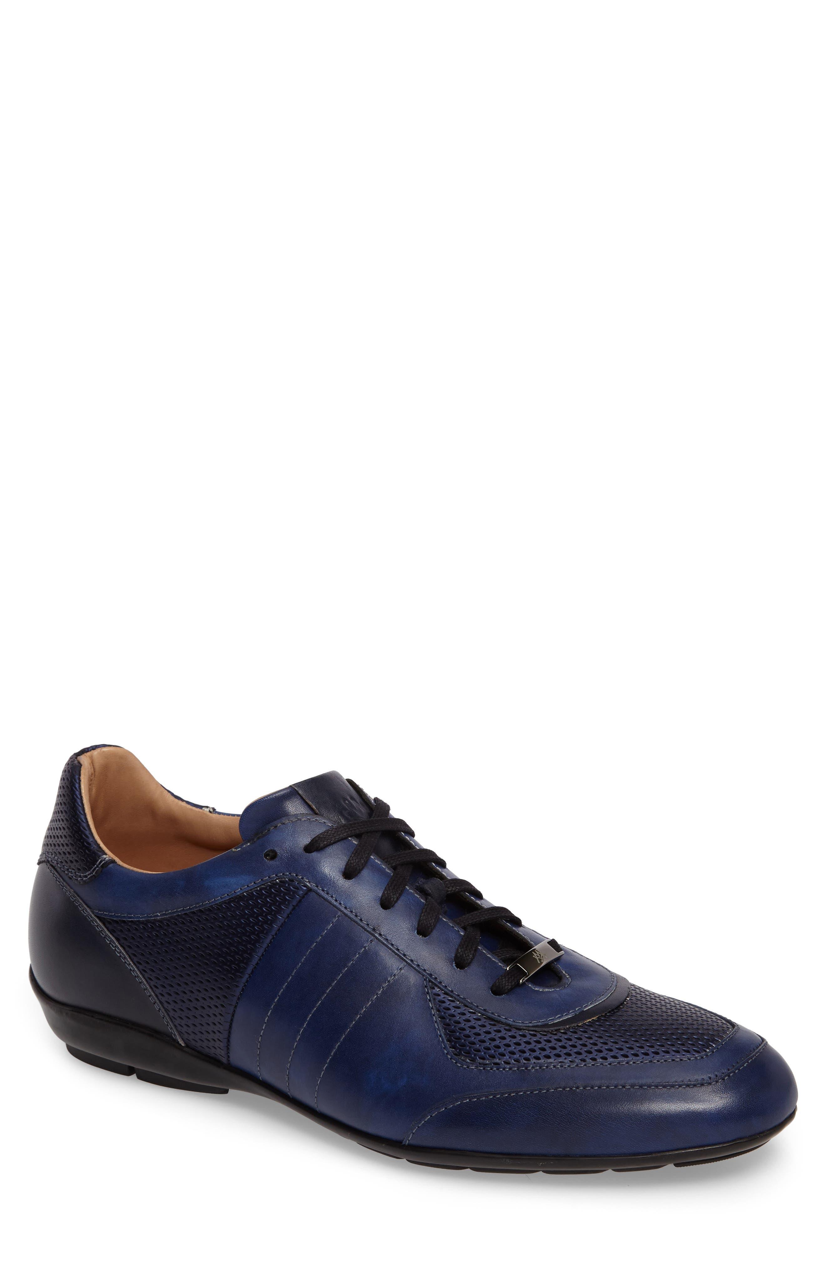 MEZLAN Redon Embossed Sneaker, Main, color, BLUE LEATHER