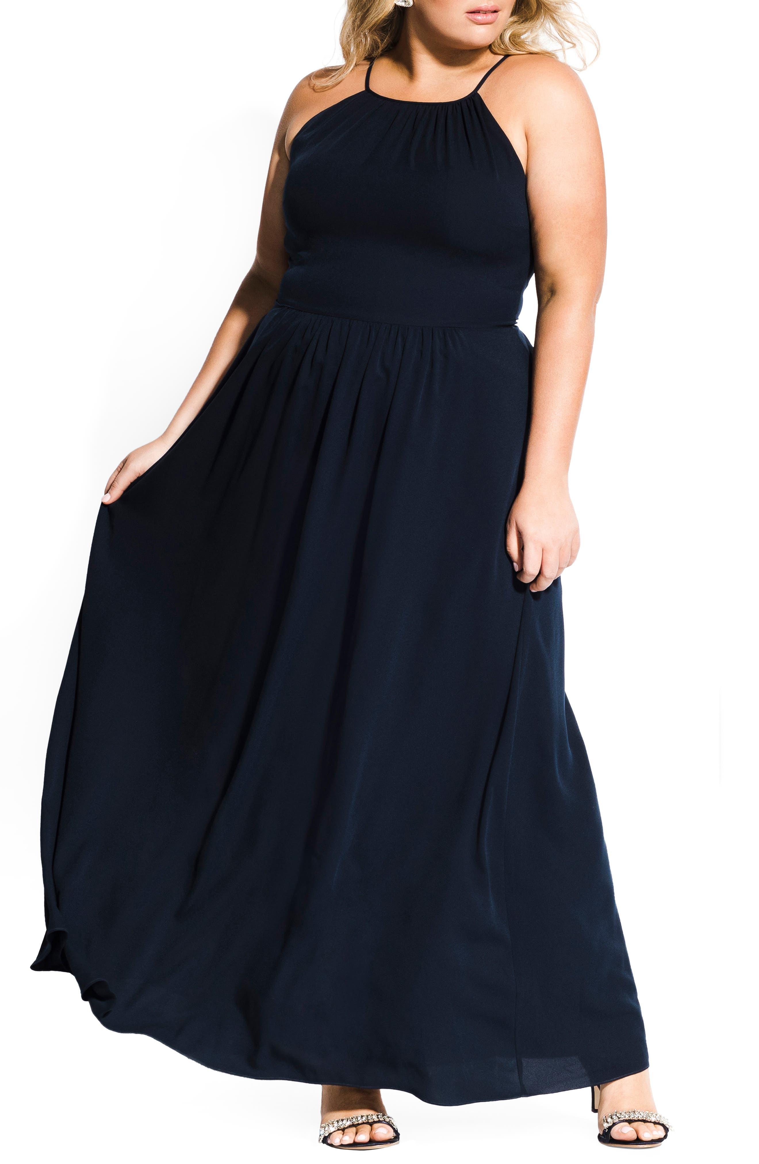 Plus Size City Chic Devotion Maxi Dress, Blue