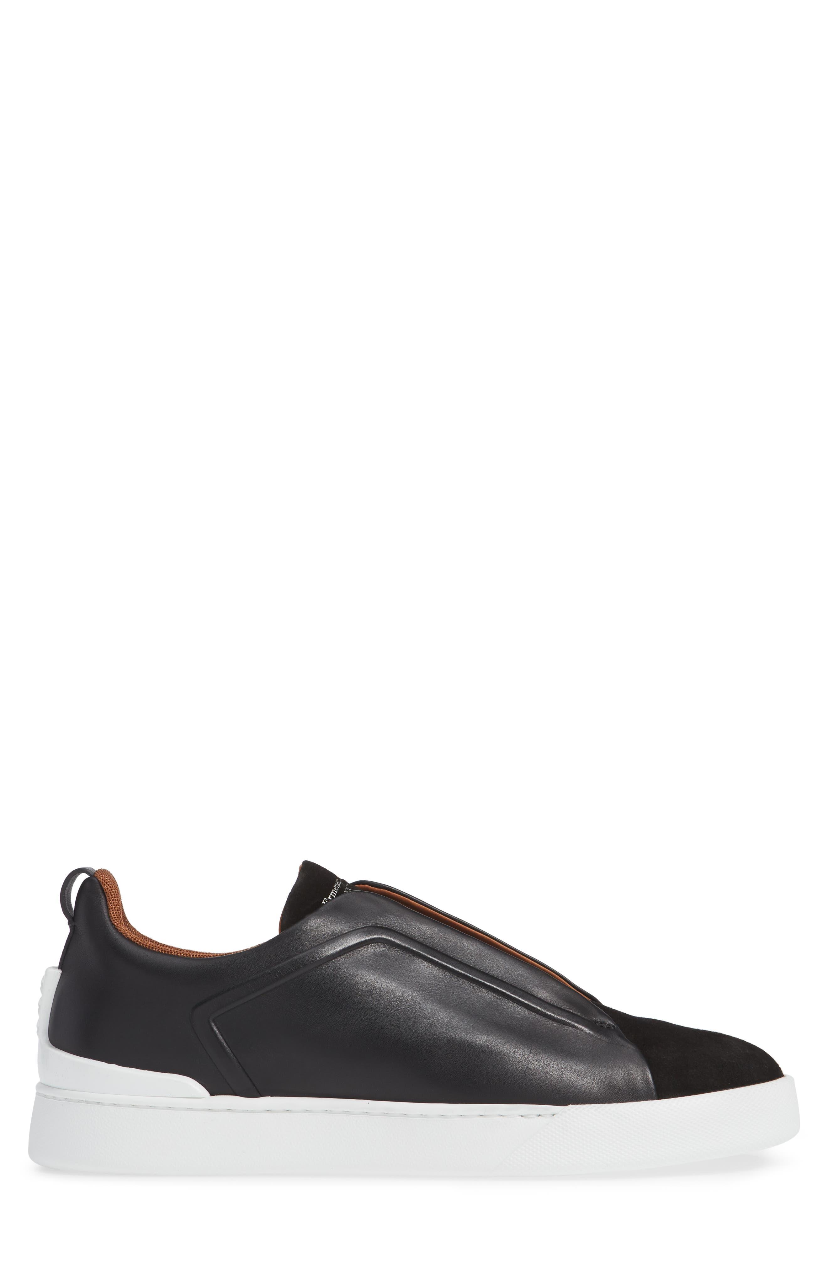 ERMENEGILDO ZEGNA, Slip-On Sneaker, Alternate thumbnail 3, color, BLACK