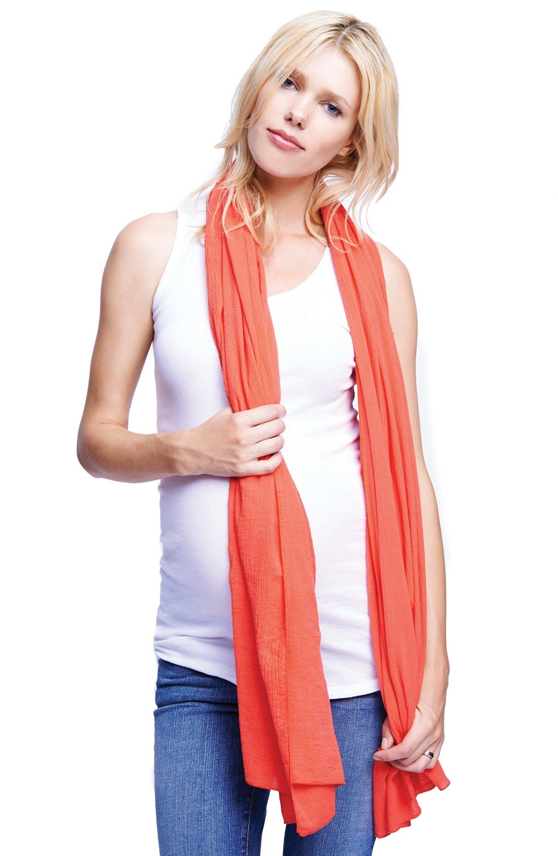 MATERNAL AMERICA, Nursing Scarf, Alternate thumbnail 2, color, CORAL