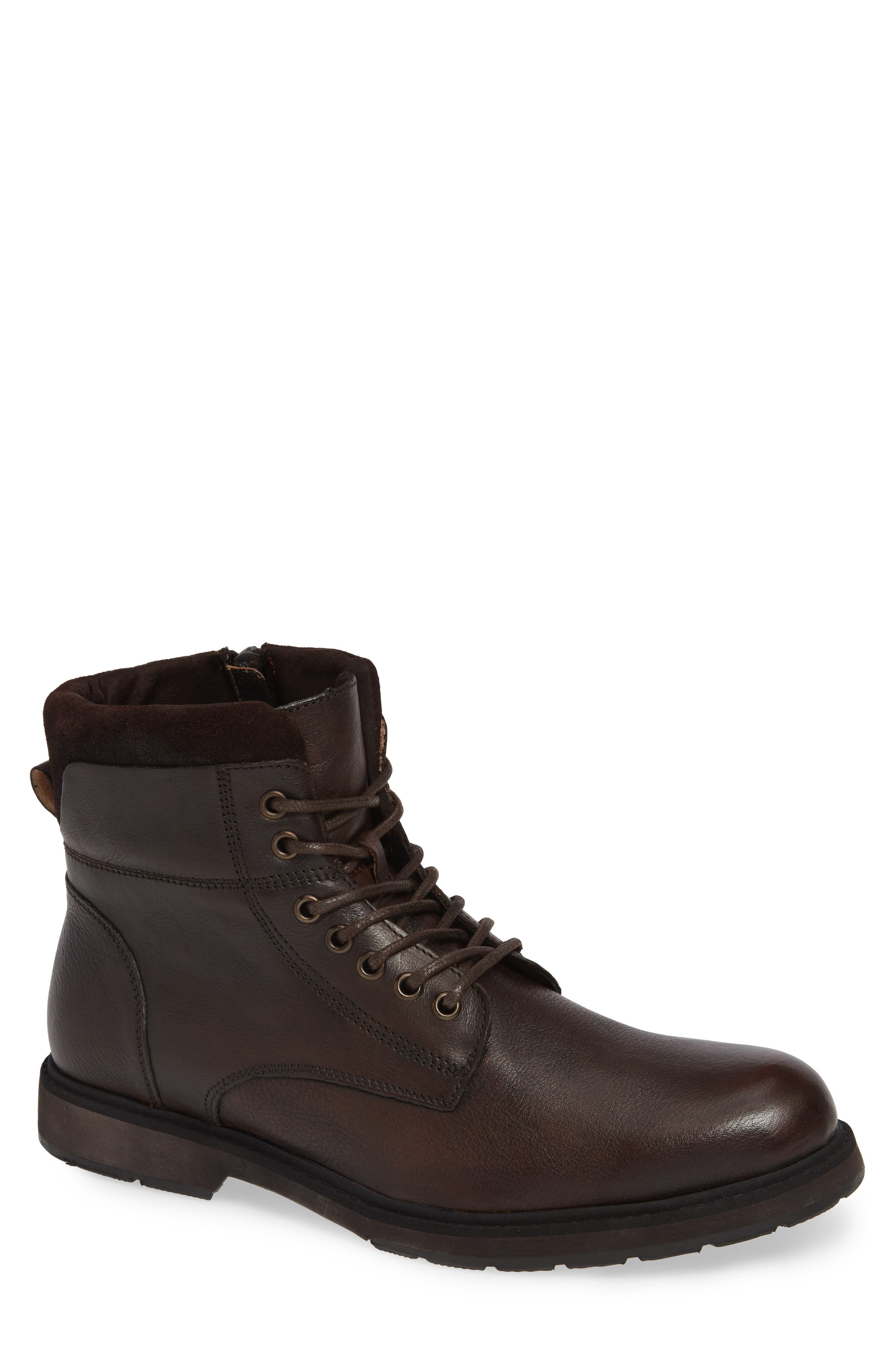 REACTION KENNETH COLE, Drue Pebbled Combat Boot, Main thumbnail 1, color, BROWN LEATHER